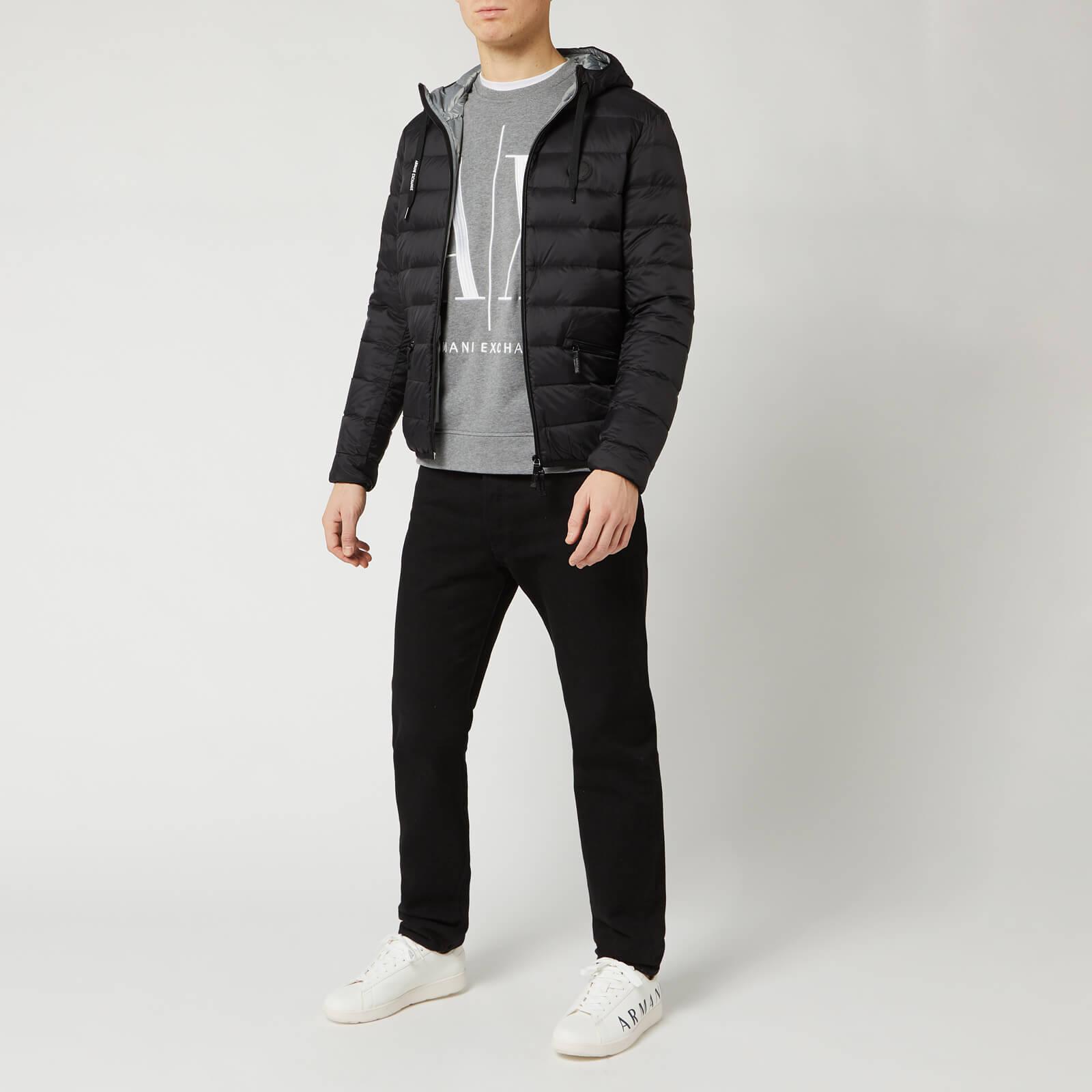 Armani Exchange Men's Padded Hooded Jacket - Black/Grey Melange - L