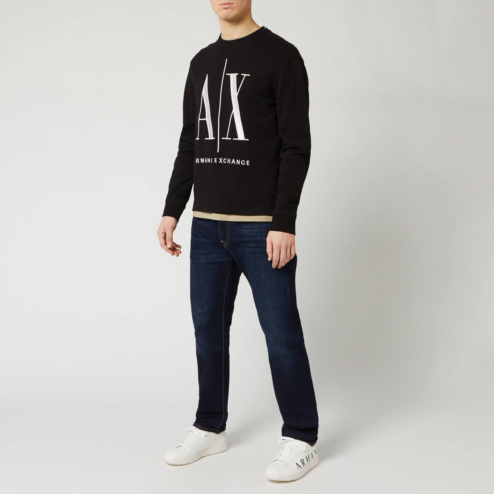 Armani Exchange Men's Large Ax Logo Sweatshirt - Black - S