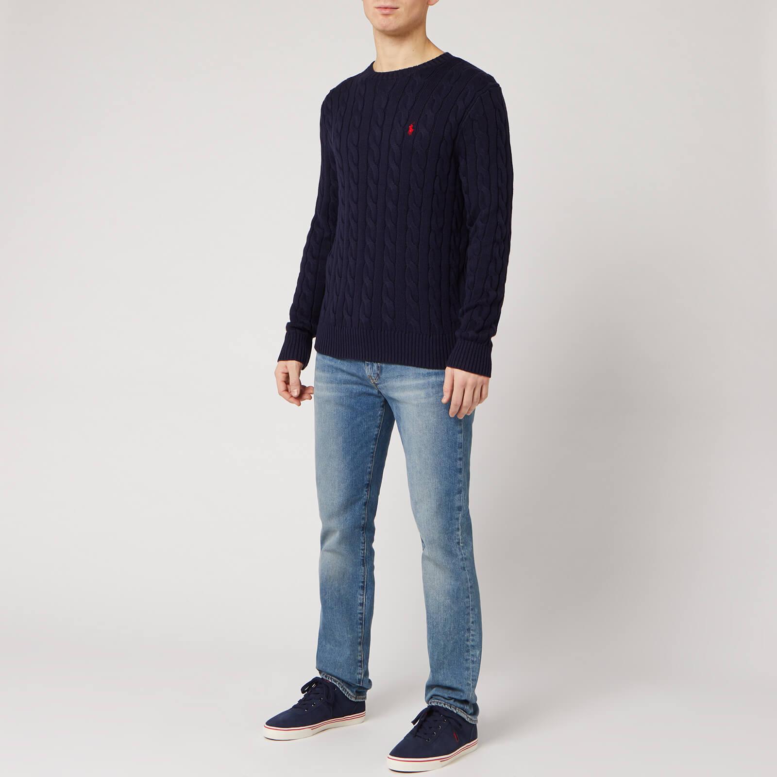 Polo Ralph Lauren Men's Cable Knit Cotton Jumper - Hunter Navy - L 710775885001 General Clothing, Blue