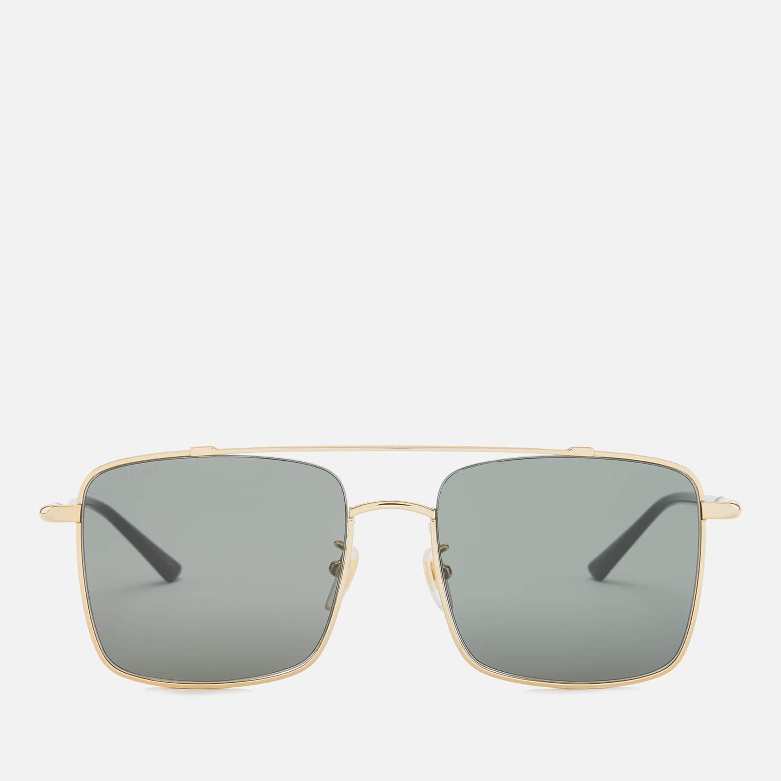 Gucci Men's Square Metal Aviator Sunglasses - Gold/Black/Grey