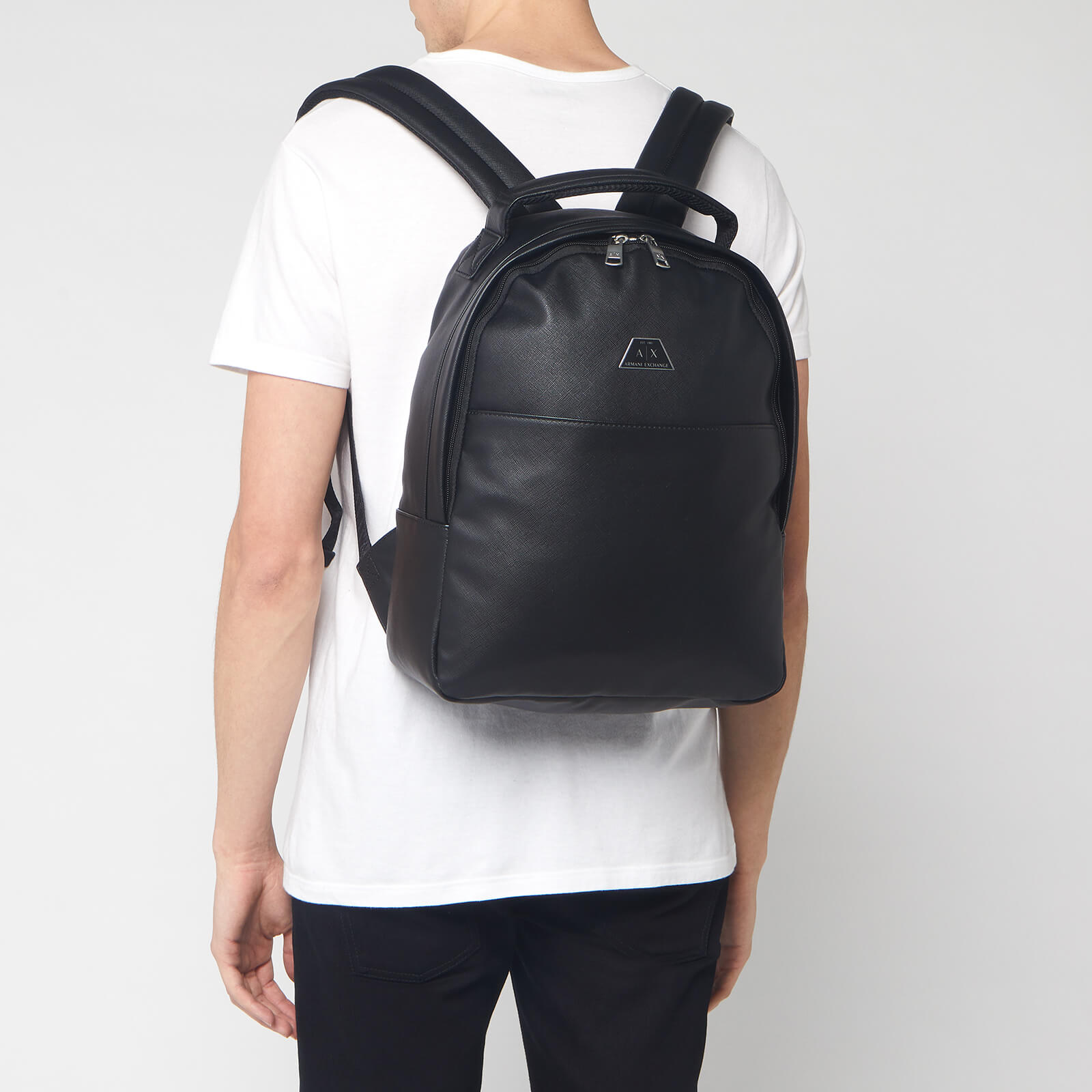 Armani Exchange Men's Metal Logo Backpack - Black