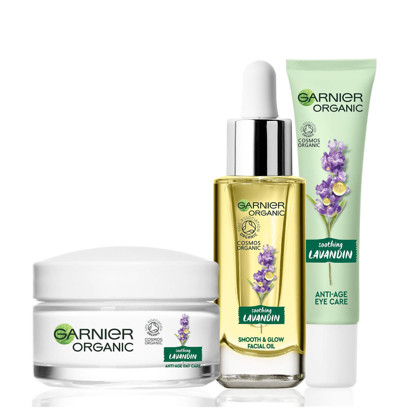 Купить Garnier Organic Lavandin Set: Eye Cream, Glow Facial Oil & Anti-Age Day Care Cream