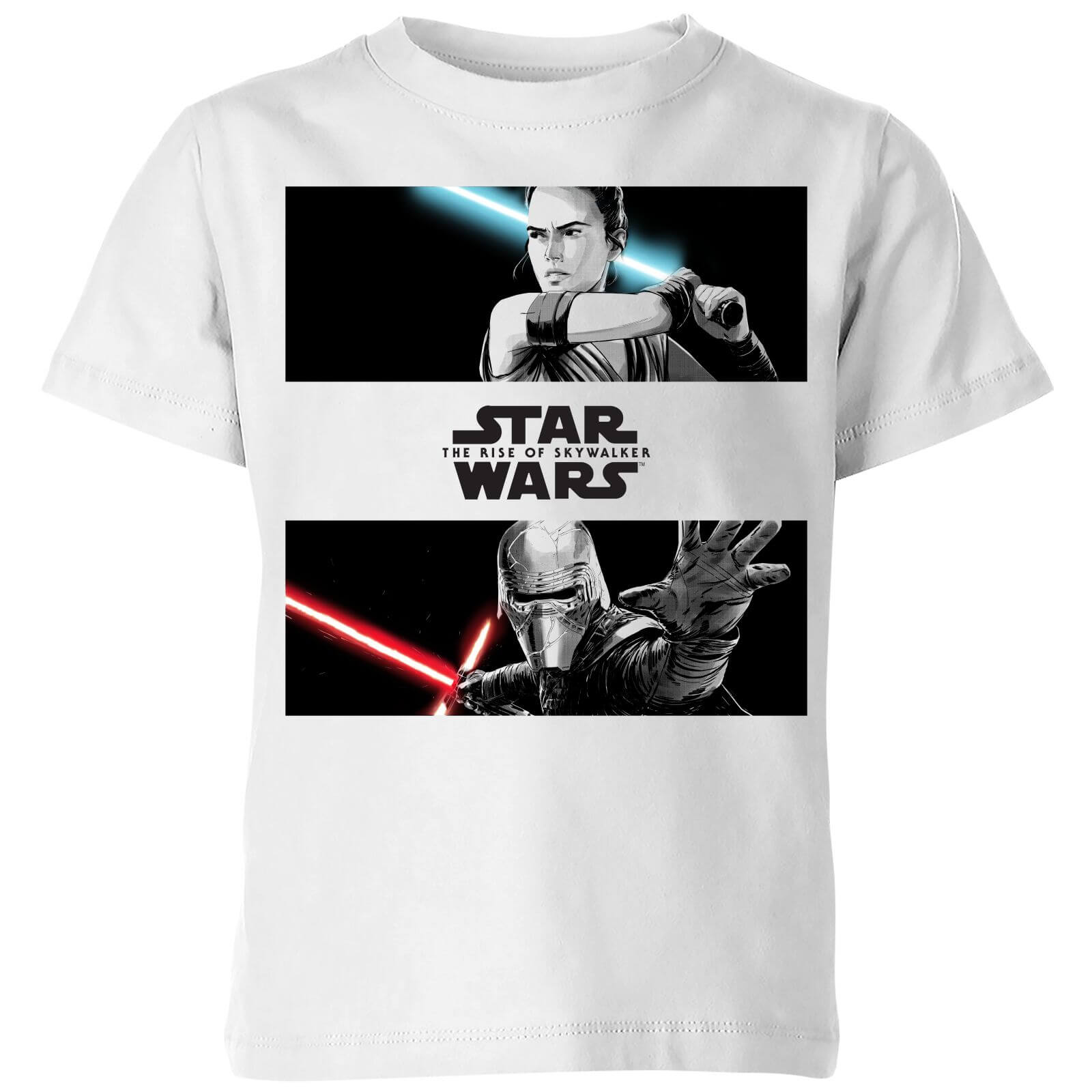 The Rise of Skywalker -Rey Vs Kylo Kinder T-Shirt - Weiß - Unisex - 5-6 Jahre - Weiß