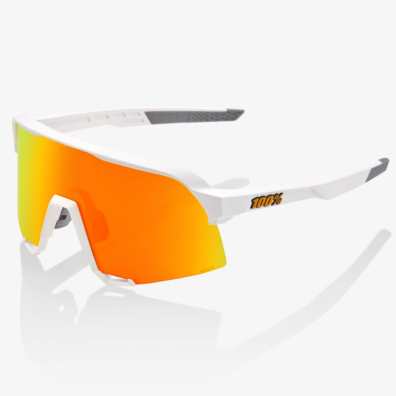 100% S3 Sunglasses With Hiper Multiplayer Mirror Lens - Soft Tact White/red Lens