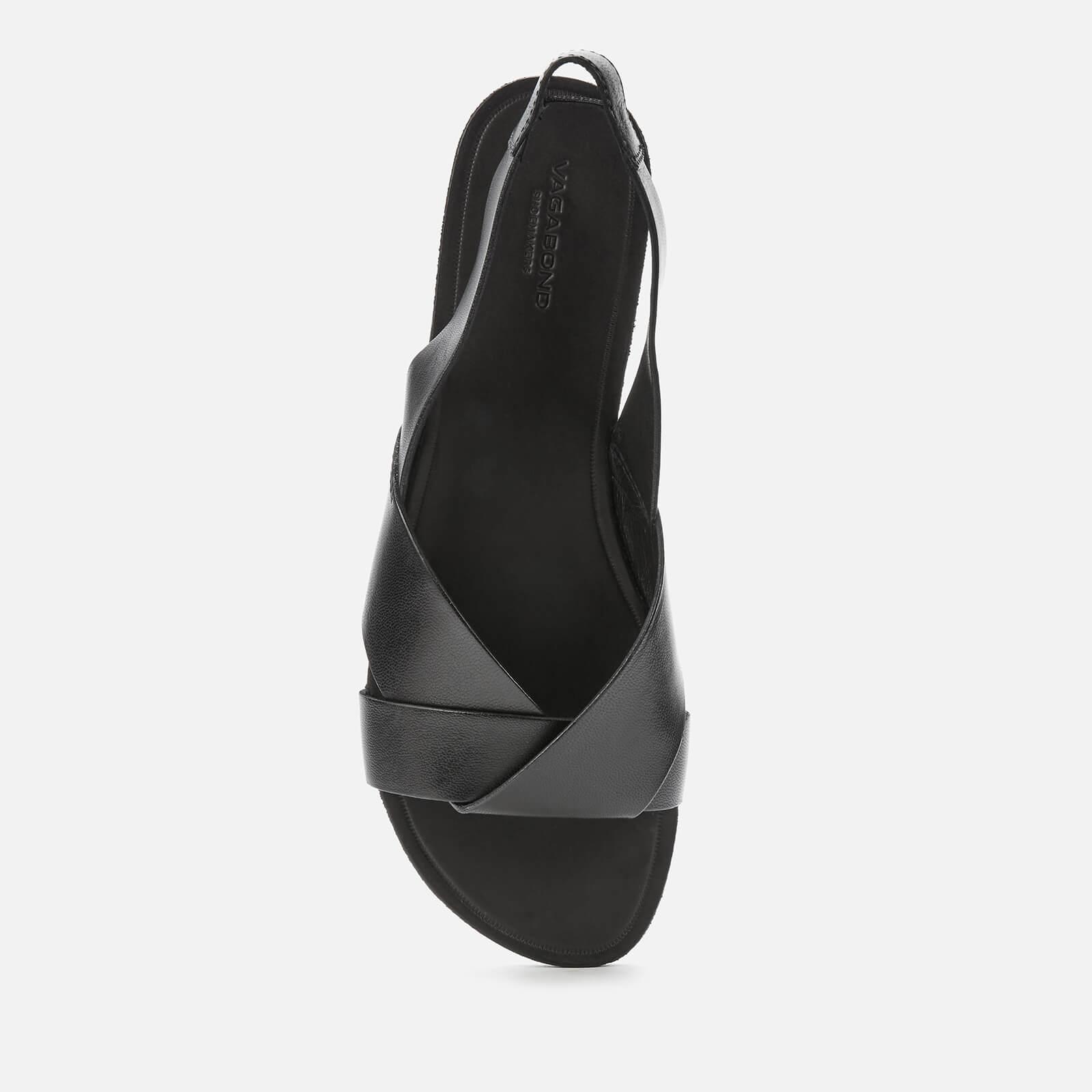 Vagabond Women's Tia Leather Flat Sandals - Black - Uk 4