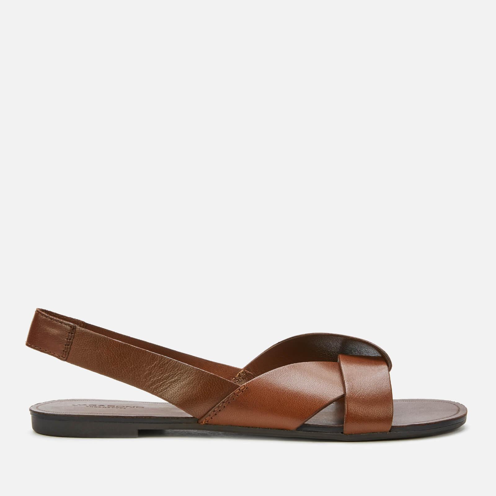 Vagabond Women's Tia Leather Flat Sandals - Cognac - Uk 7