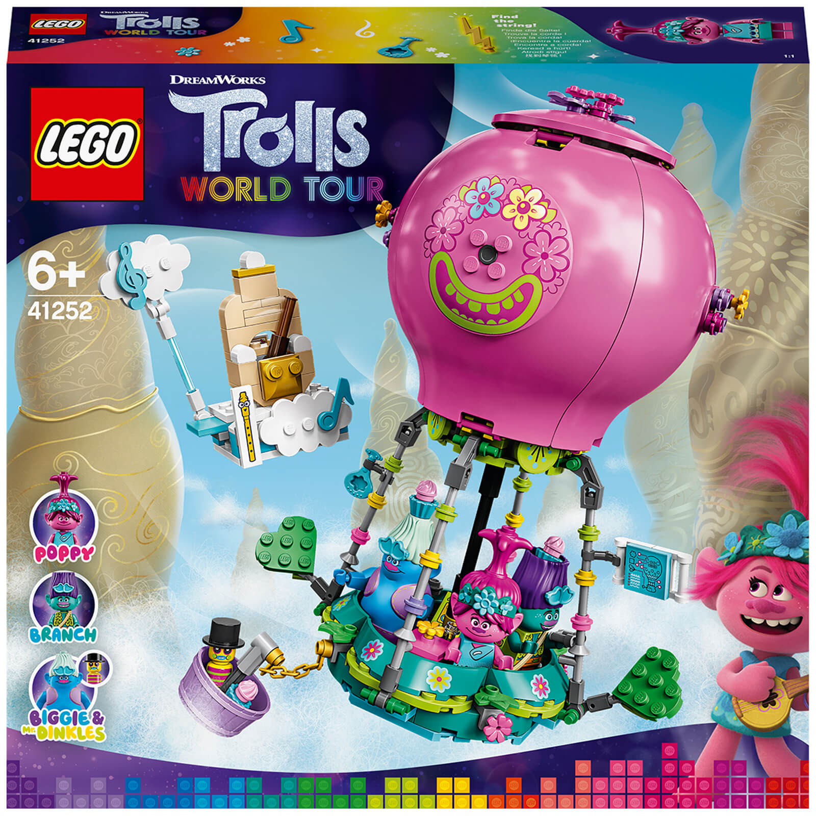Image of LEGO DreamWorks Trolls World Tour Poppy's Hot Air Balloon Adventure - 41252