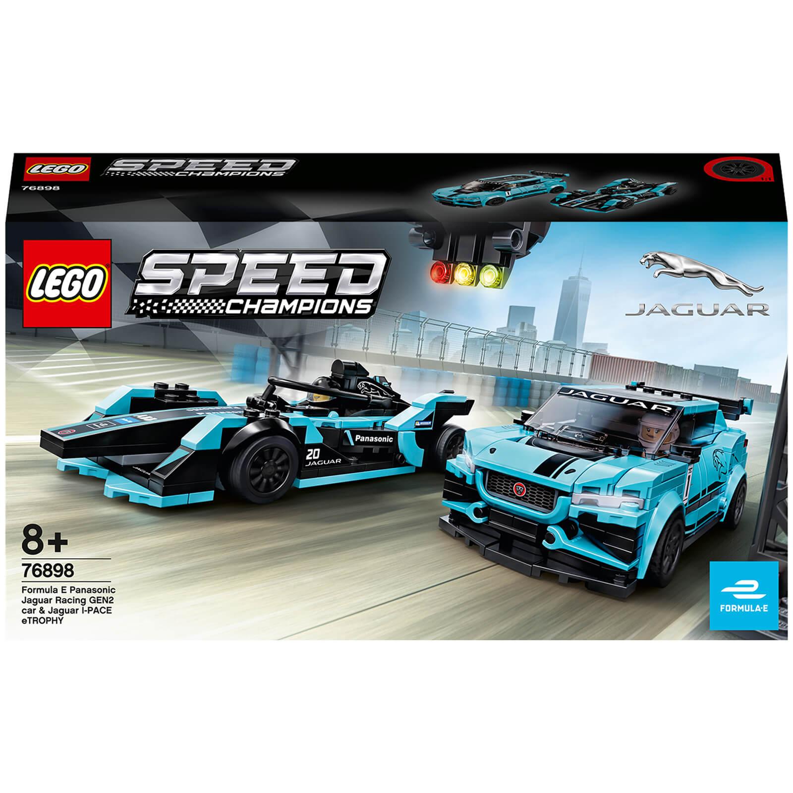 Image of 76898 LEGO® SPEED CHAMPIONS Formula E Panasonic Jaguar Racing GEN2 car & Jaguar I-PACE eTROPHY