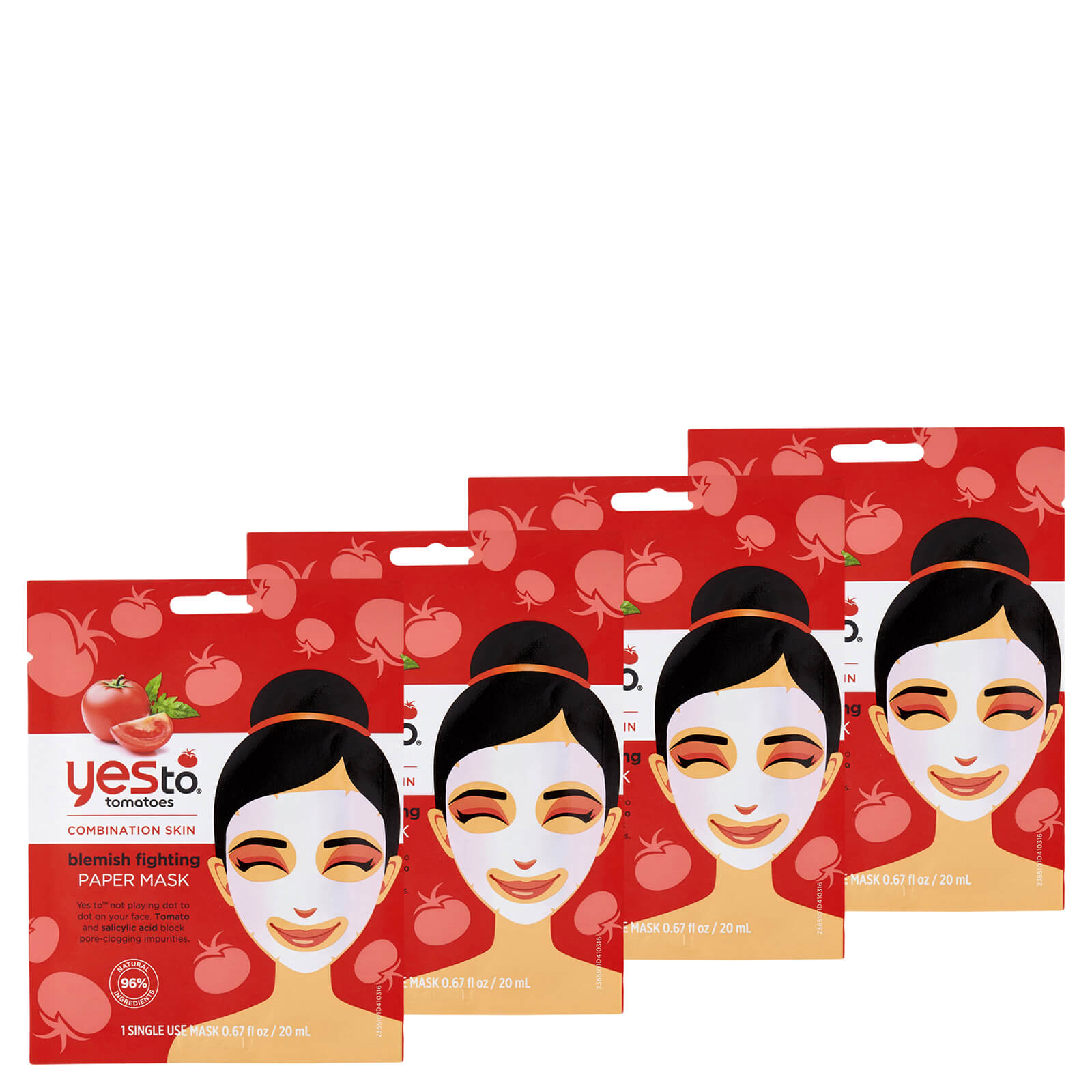 Купить Yes to Tomatoes Blemishing Fighting Paper Single Use Mask (Pack of 4)