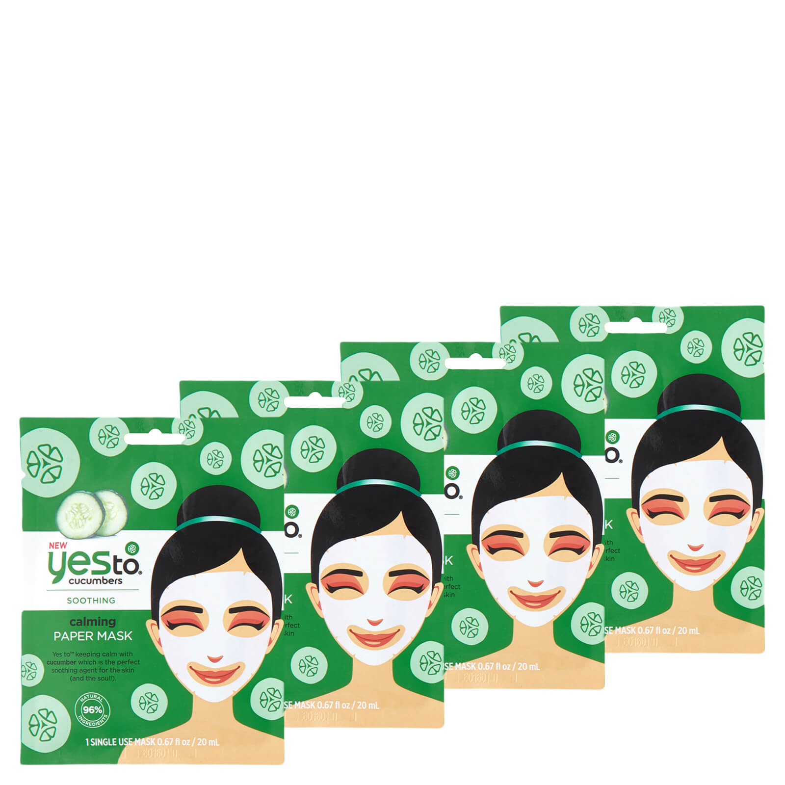 Купить Yes to Cucumber Calming Paper Single Use Mask (Pack of 4)