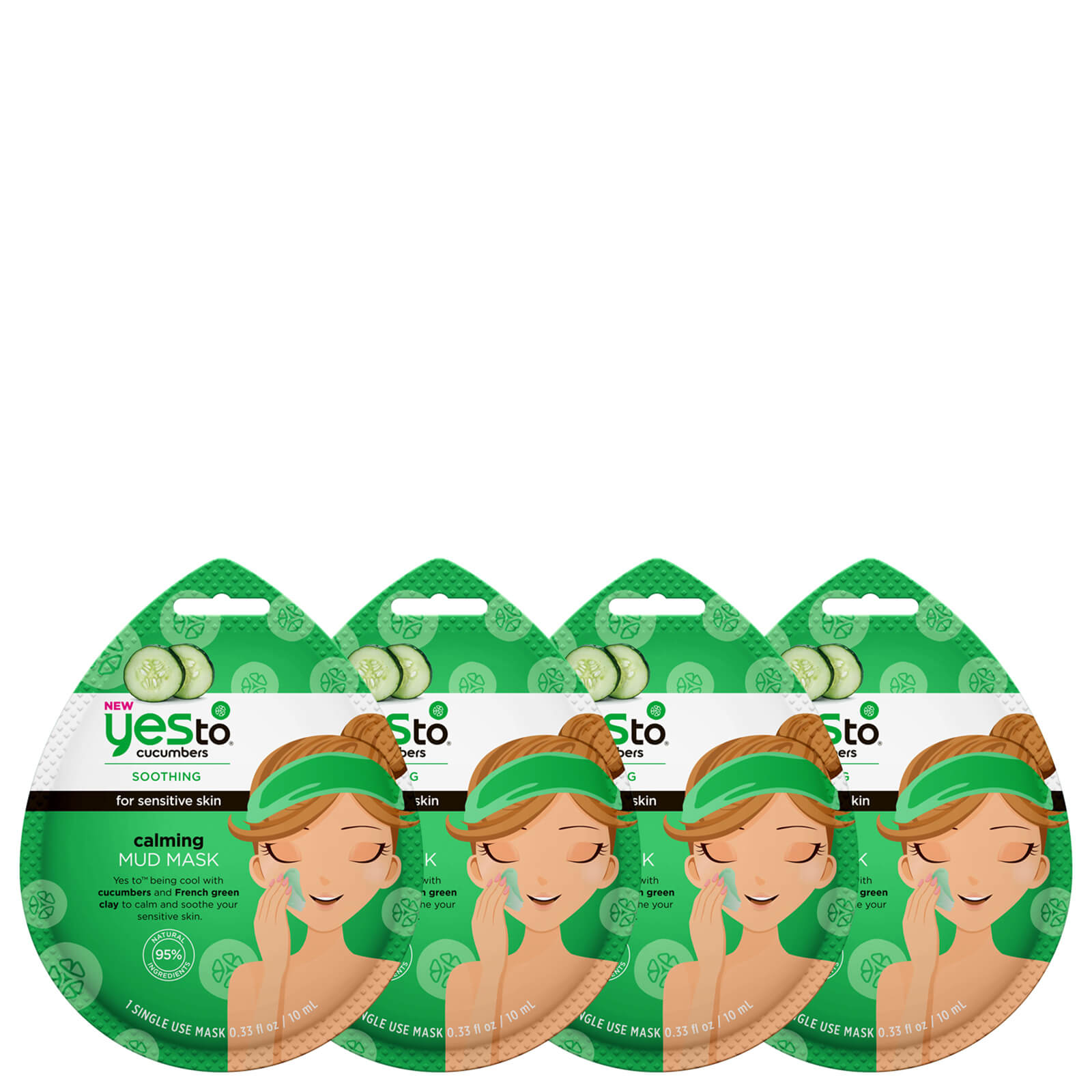 Купить Yes to Cucumber Calming Mud Single Use Mask (Pack of 4)