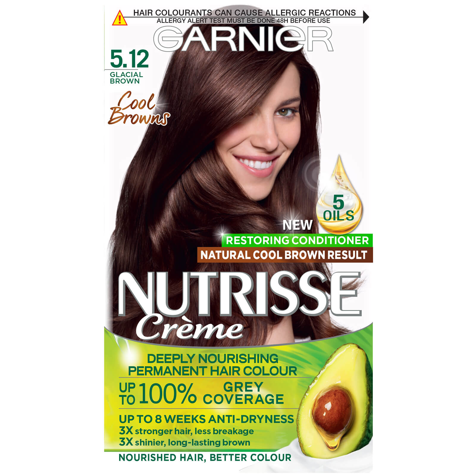 Garnier Nutrisse Permanent Hair Dye (Various Shades) - 5.12 Glacial Brown