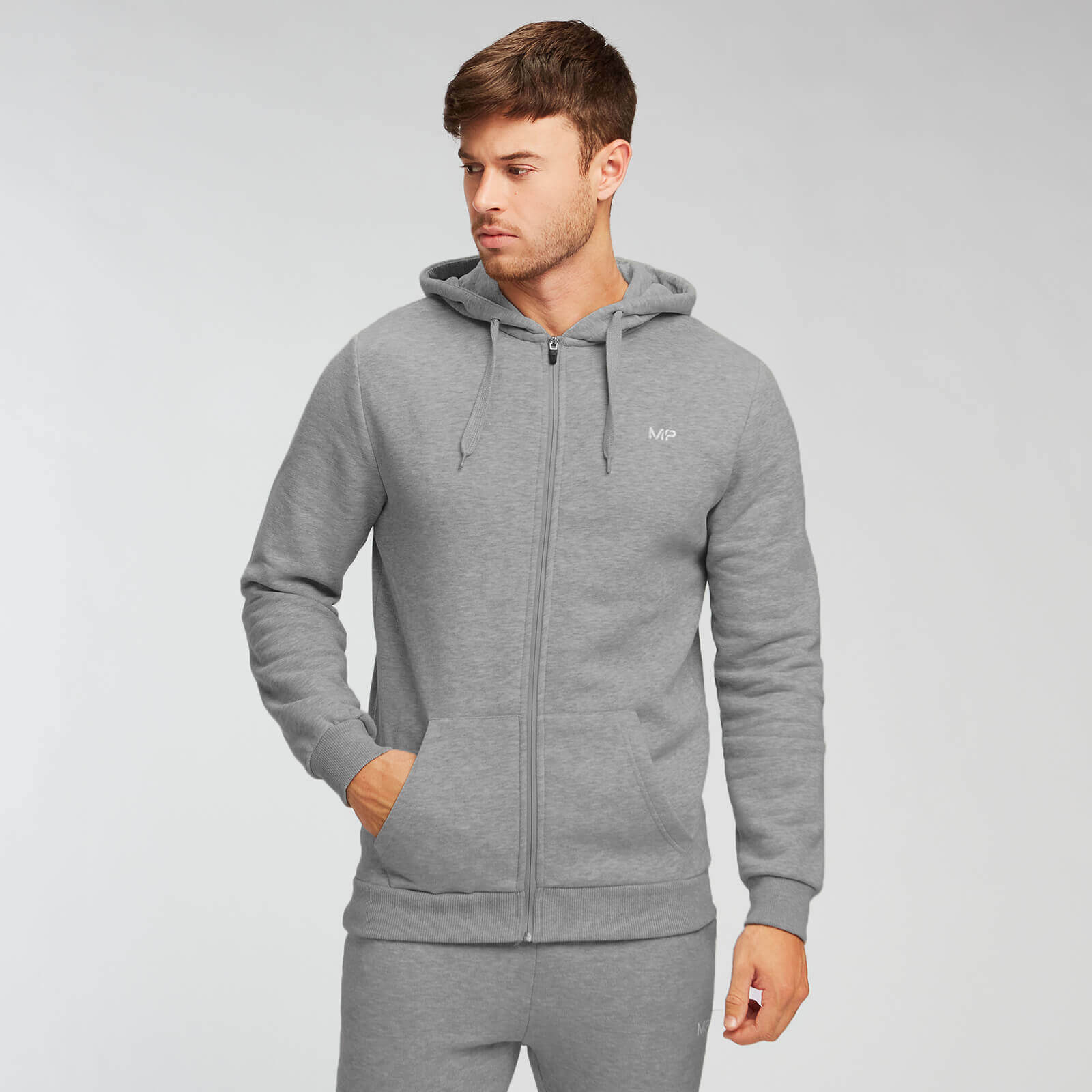 Sweat à capuche zippé MP Essentials pour hommes – Gris chiné - XS