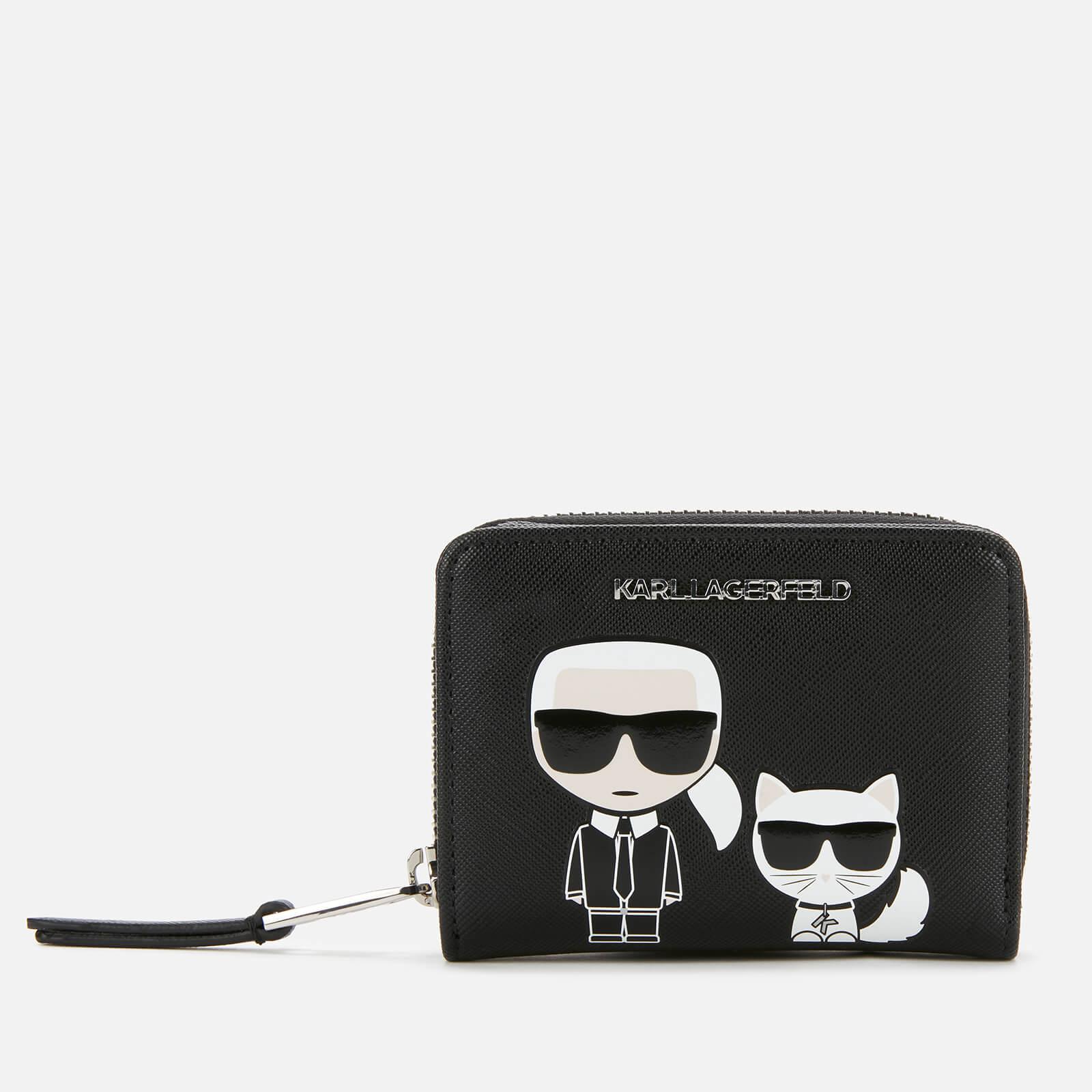 Karl Lagerfeld Women's K/Ikonik Sm Folded Zip Wallet - Black