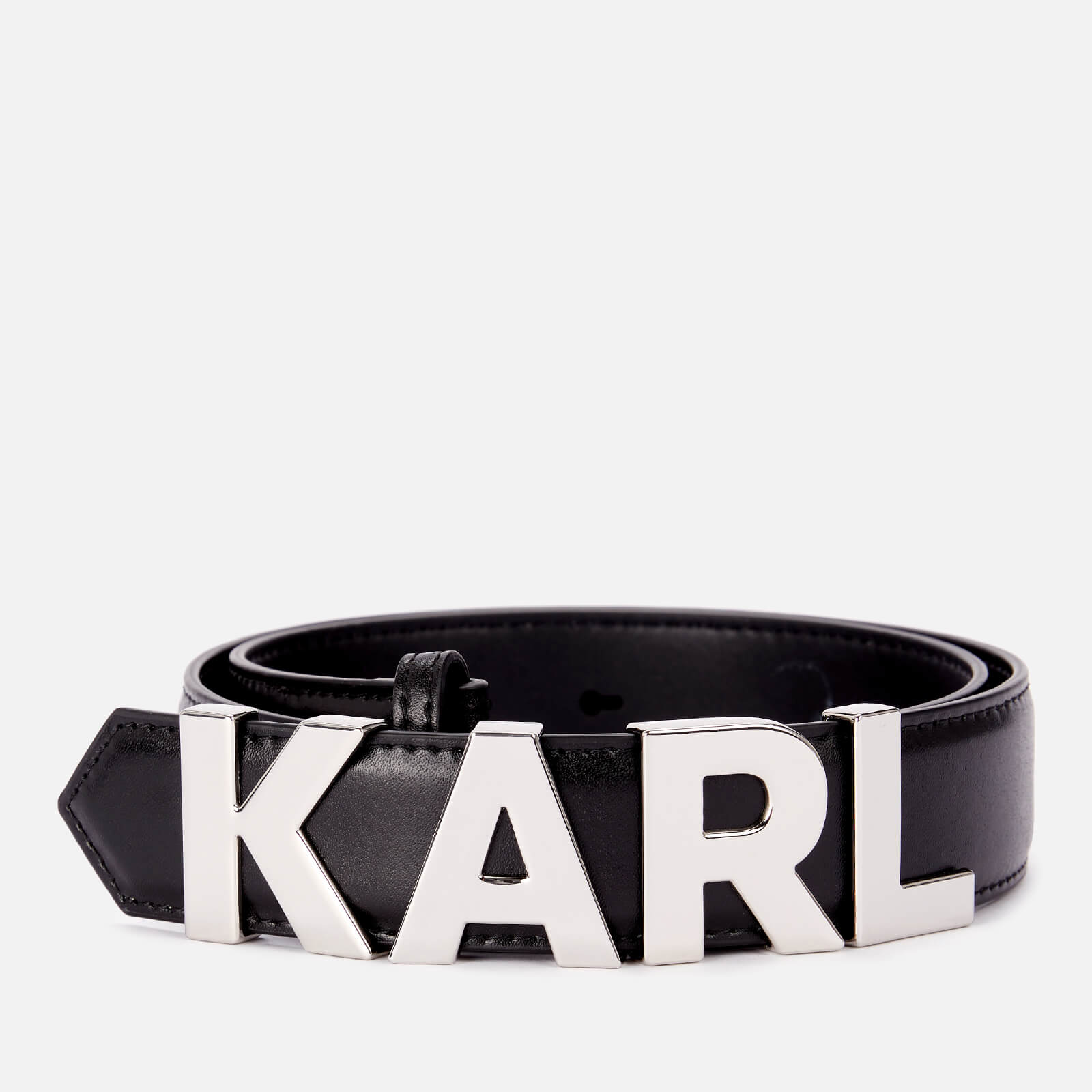 Karl Lagerfeld Women's K/Karl Metal Letters Belt - Black - S