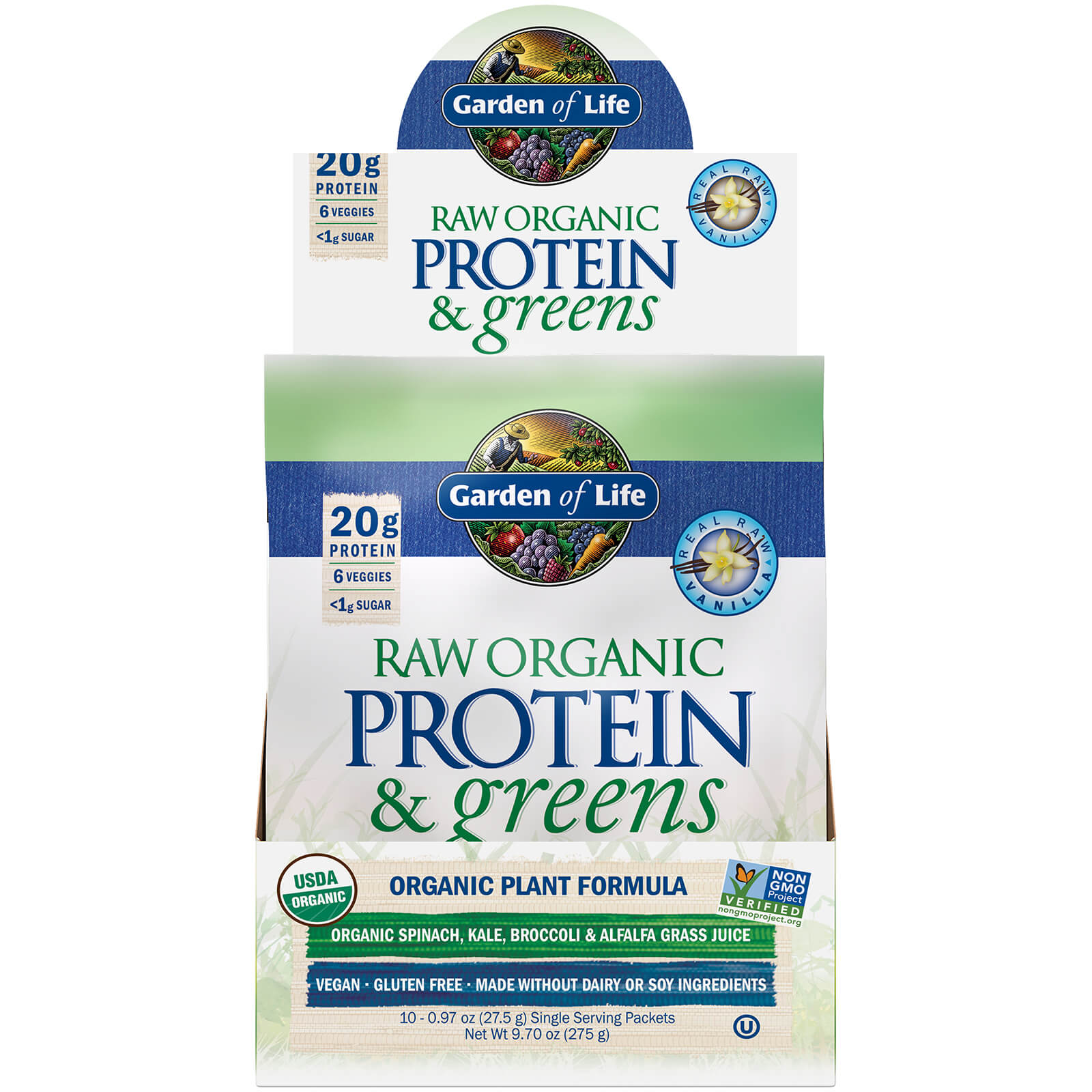 Raw Biologisch Eiwit en Groene Groenten - Vanille - 10 zakjes