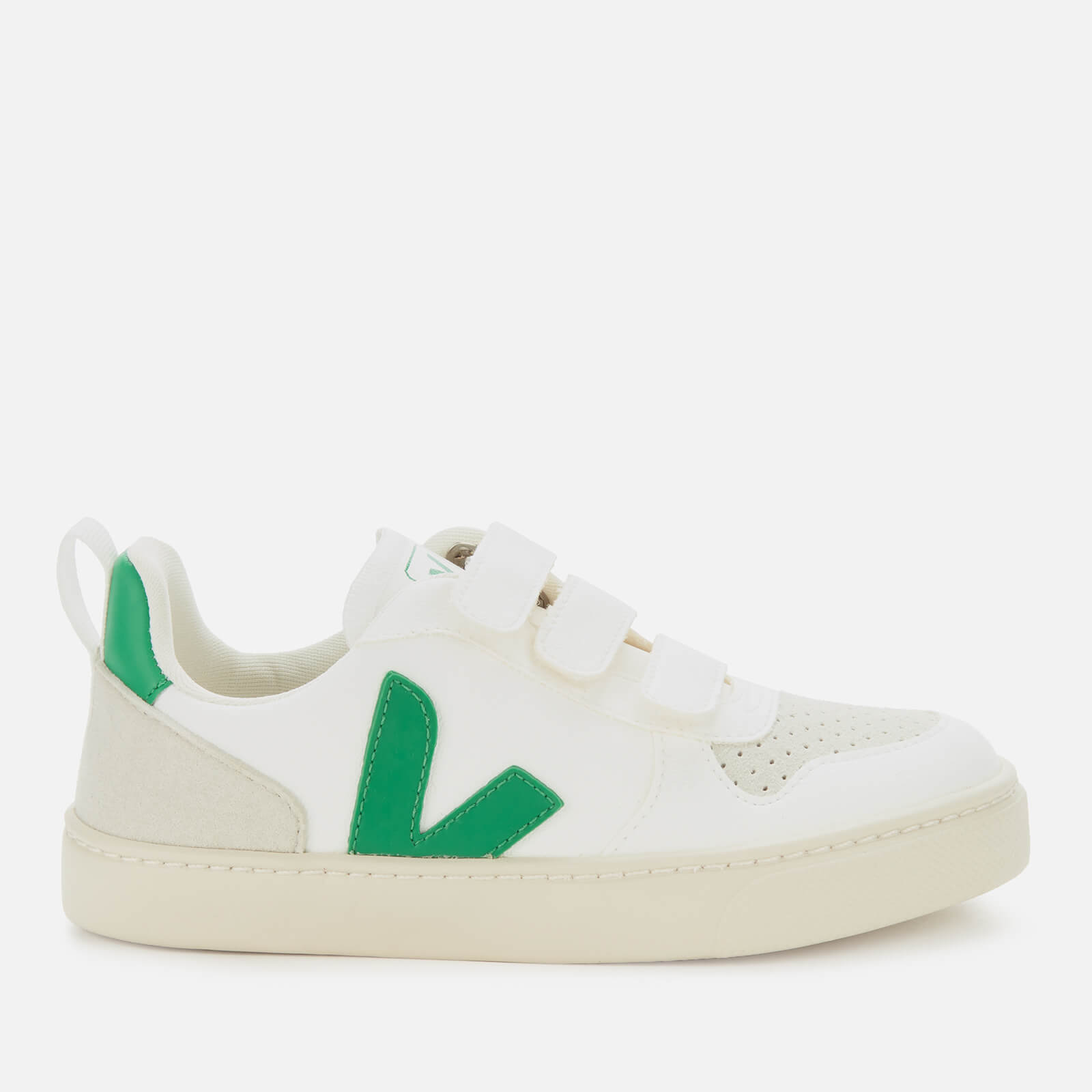 Veja Kid's V10 Velcro Leather Trainers - White/Emeraude - UK 1.5 Kids