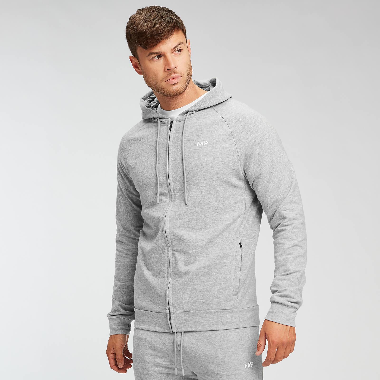 Sweat à capuche zippé MP Form pour hommes – Gris chiné - XS