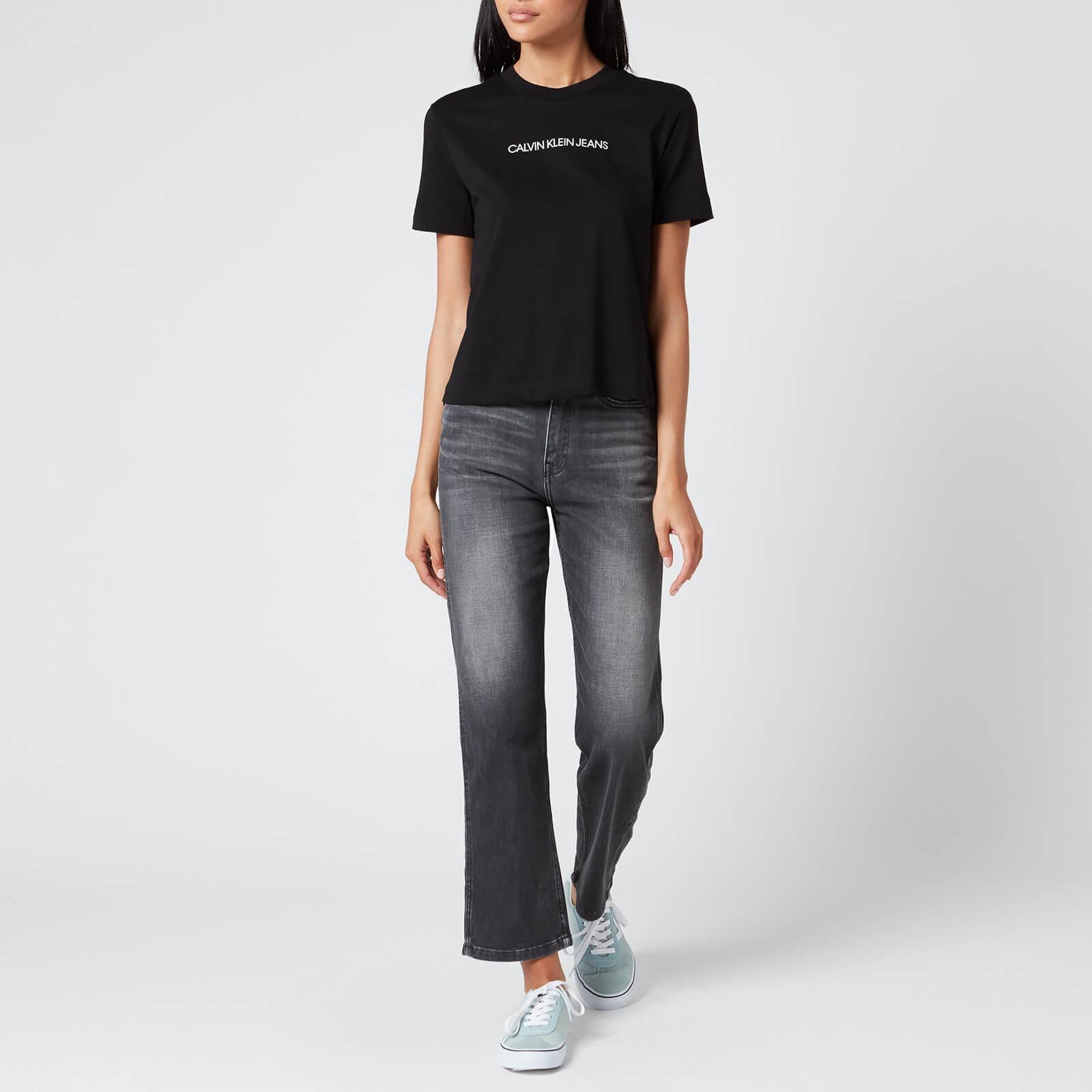 Calvin Klein Jeans Women's Shrunken Institutional T-Shirt - Ck Black - Xs