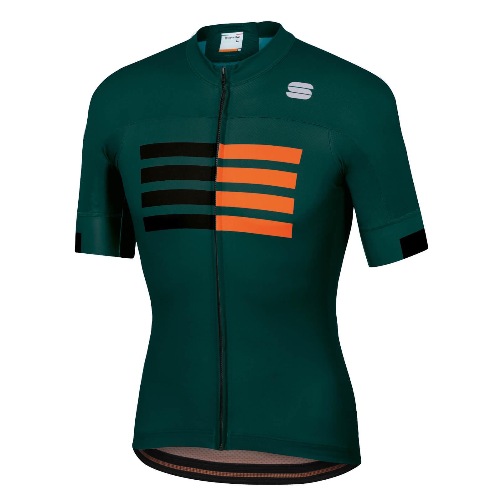 Sportful Wire Jersey - S - Sea Moss/Black/Orange SDR