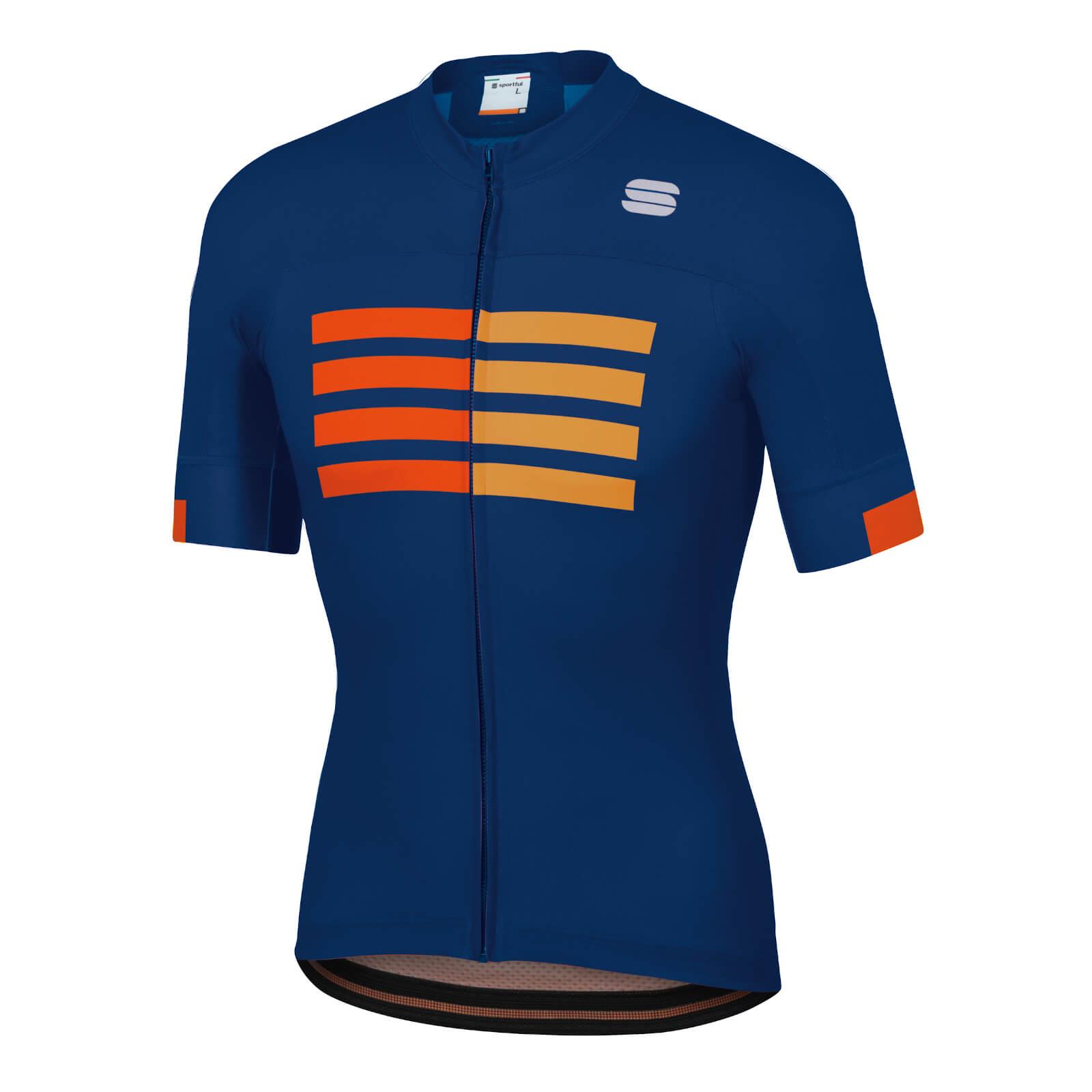 Sportful Wire Jersey - L - Blue Twilight/Fire Red/Gold