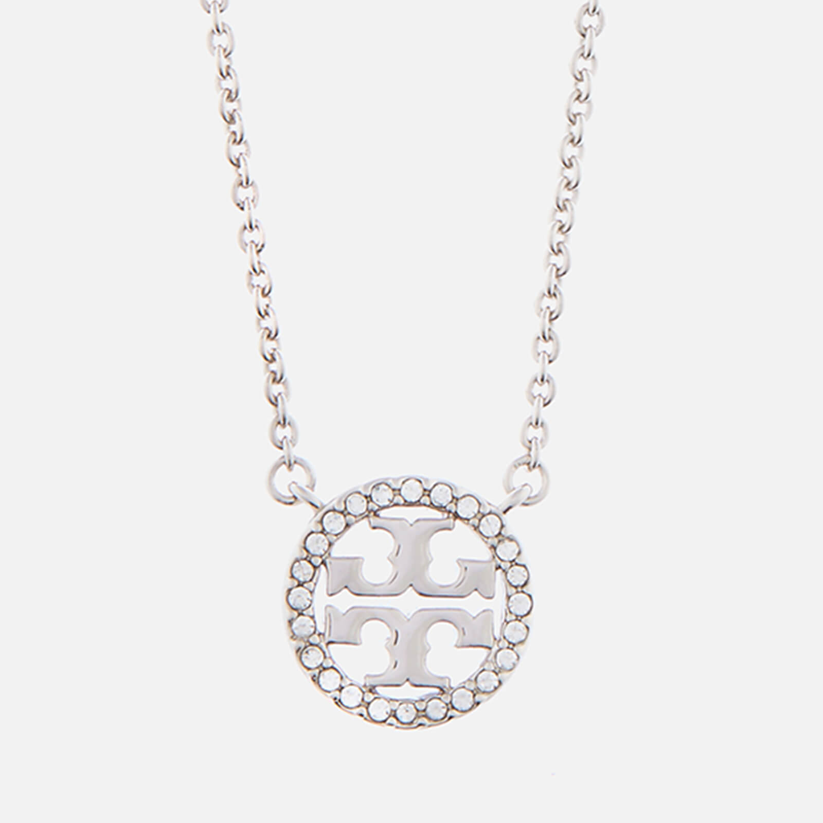 Tory Burch Women's Crystal Logo Delicate Necklace - Tory Silver