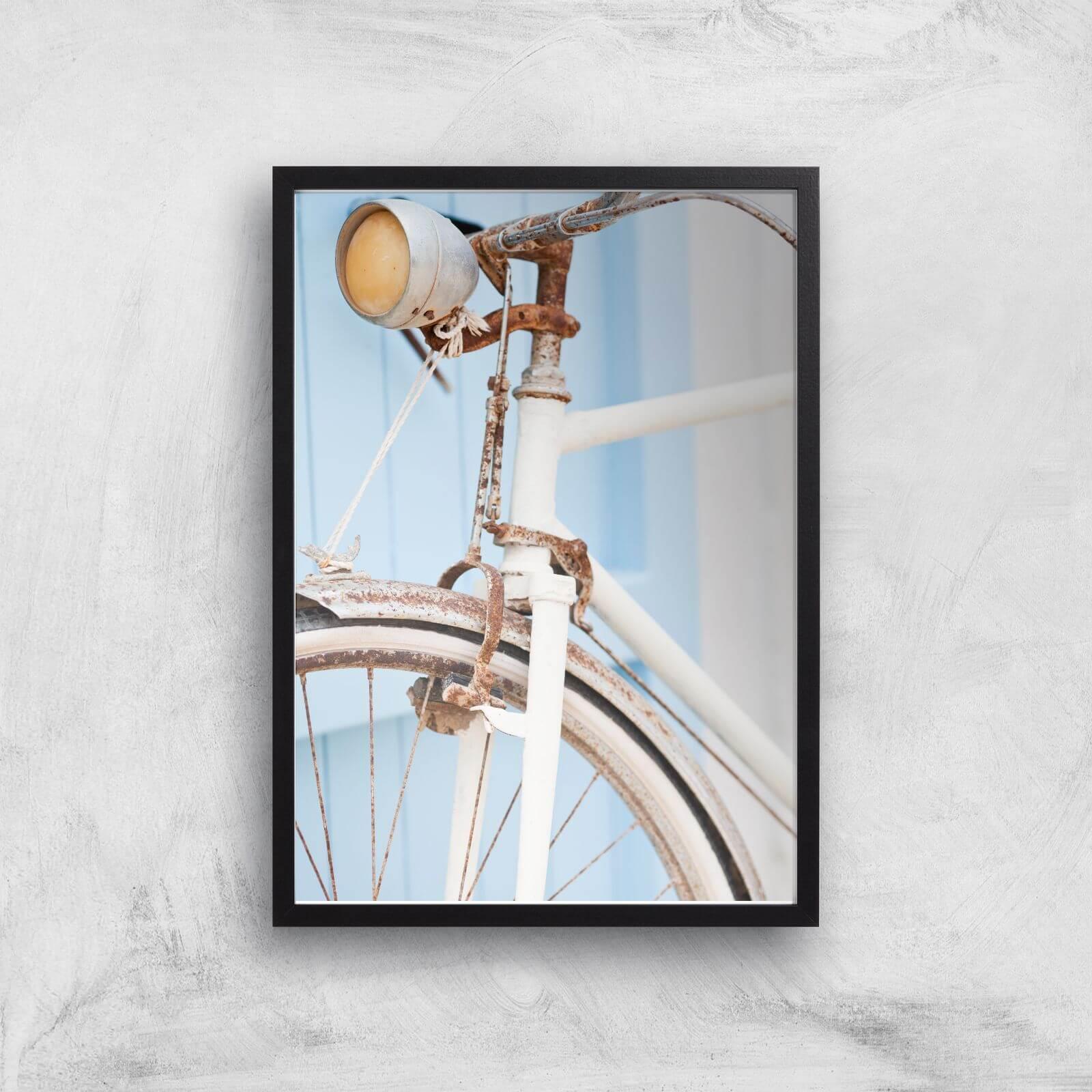 Rusty Bicycle Giclee Art Print   A4   Black Frame