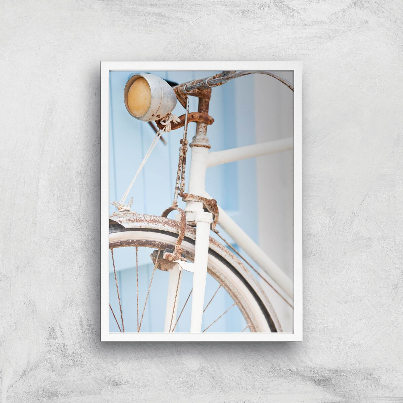 Rusty Bicycle Giclee Art Print   A3   White Frame