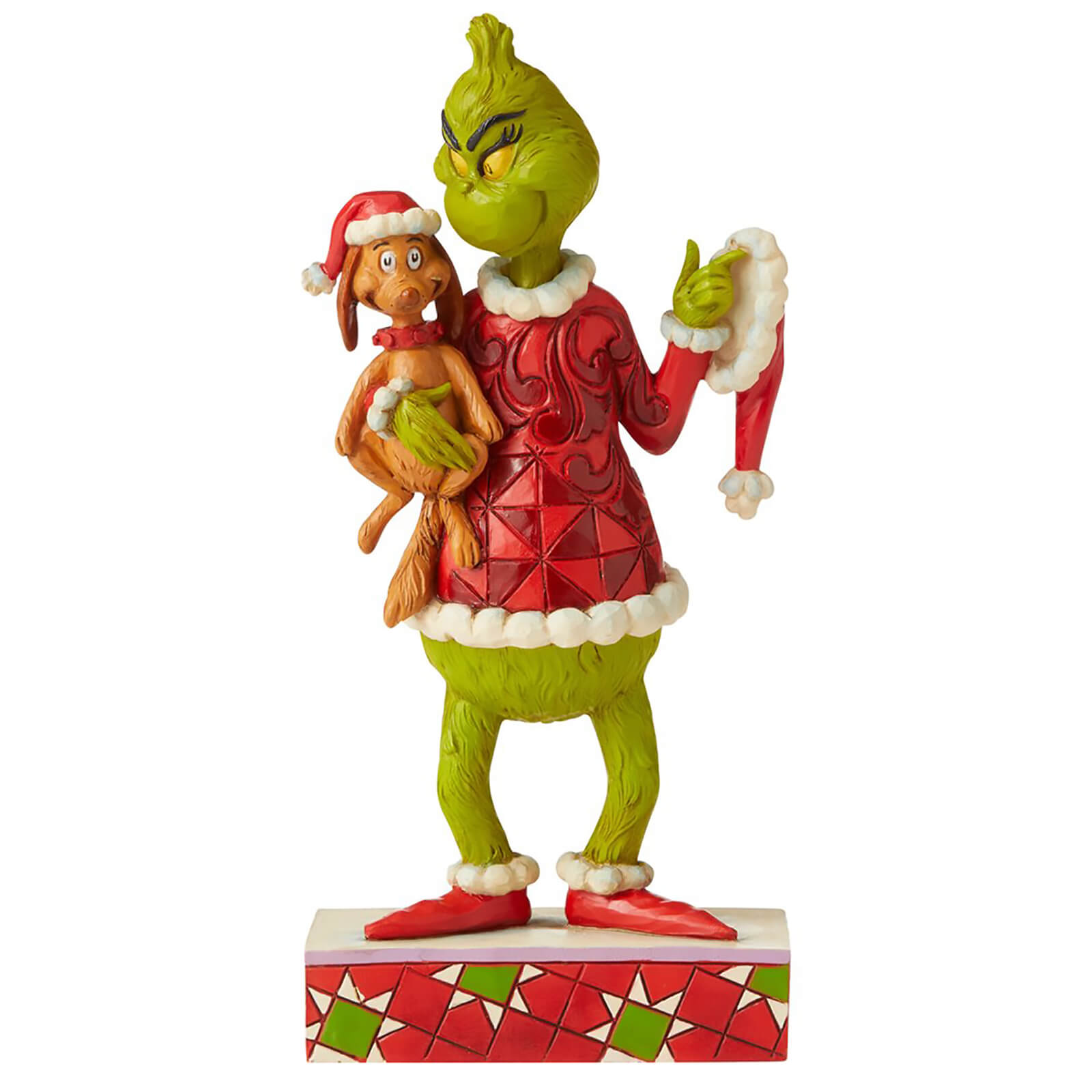 Image of The Grinch by Jim Shore Grinch with Max Under His Arm Figurine 19.5cm