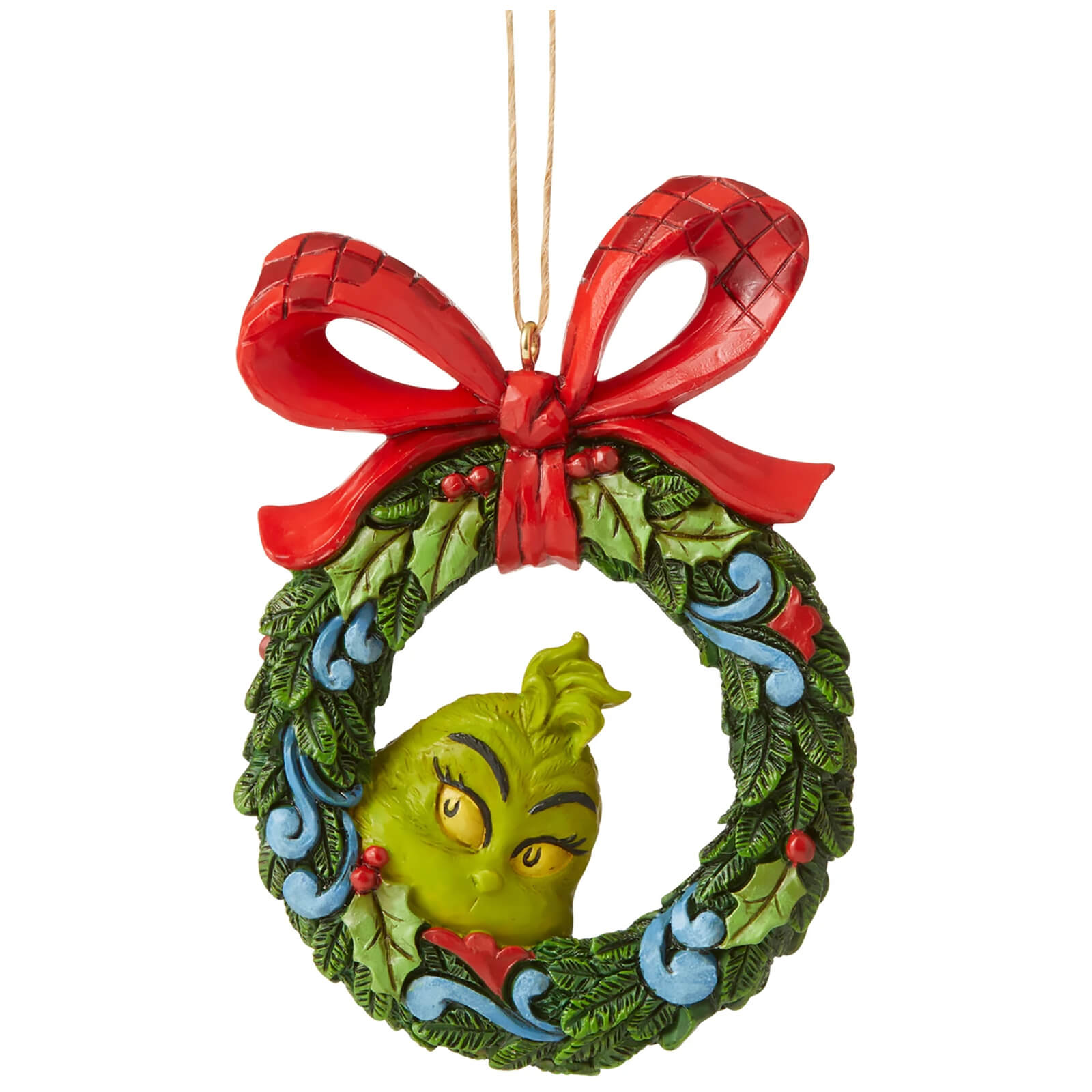 Image of The Grinch by Jim Shore Grinch Peeking Through Wreath (Hanging Ornament) 9cm