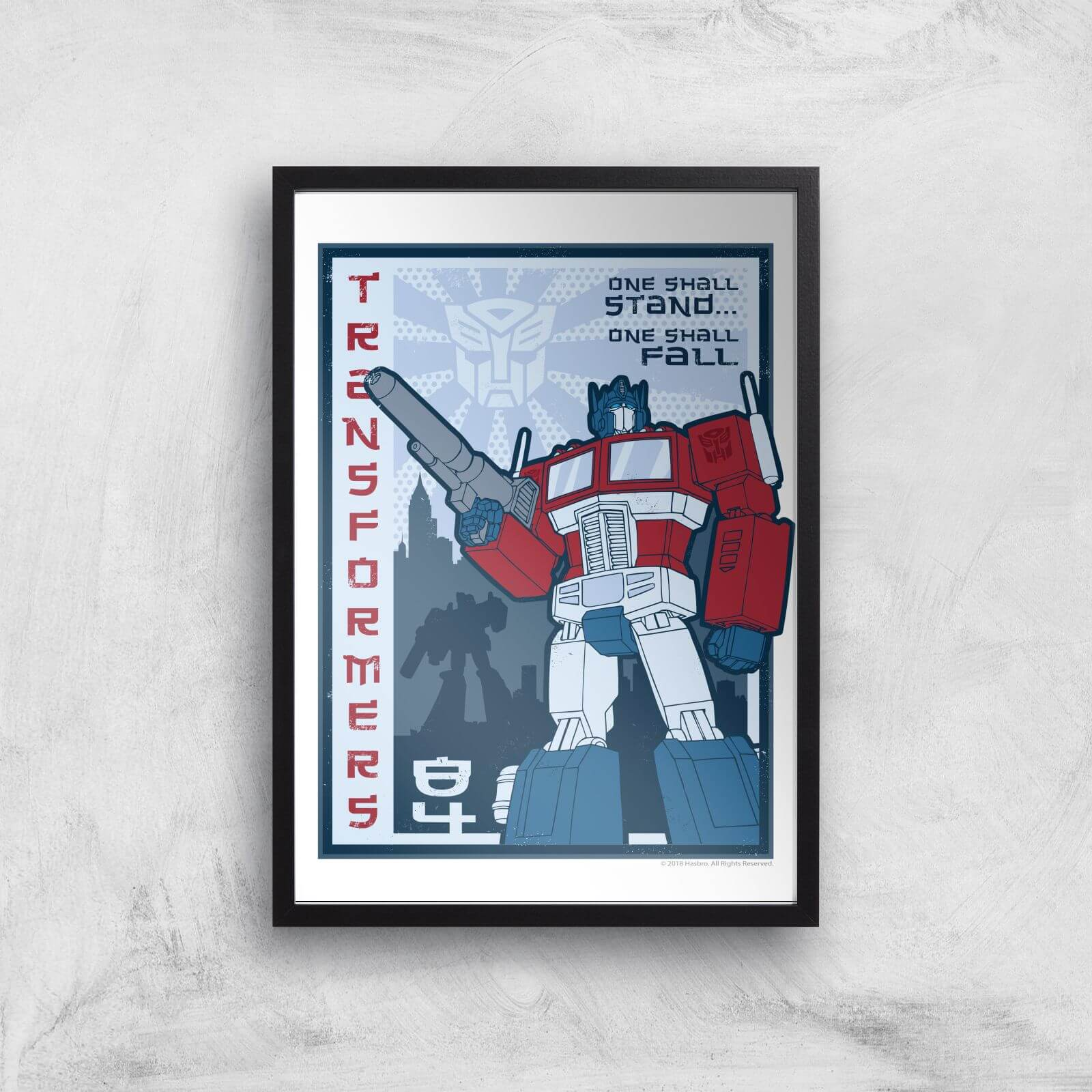 Transformers One Shall Stand Poster Art Print   A3   Black Frame