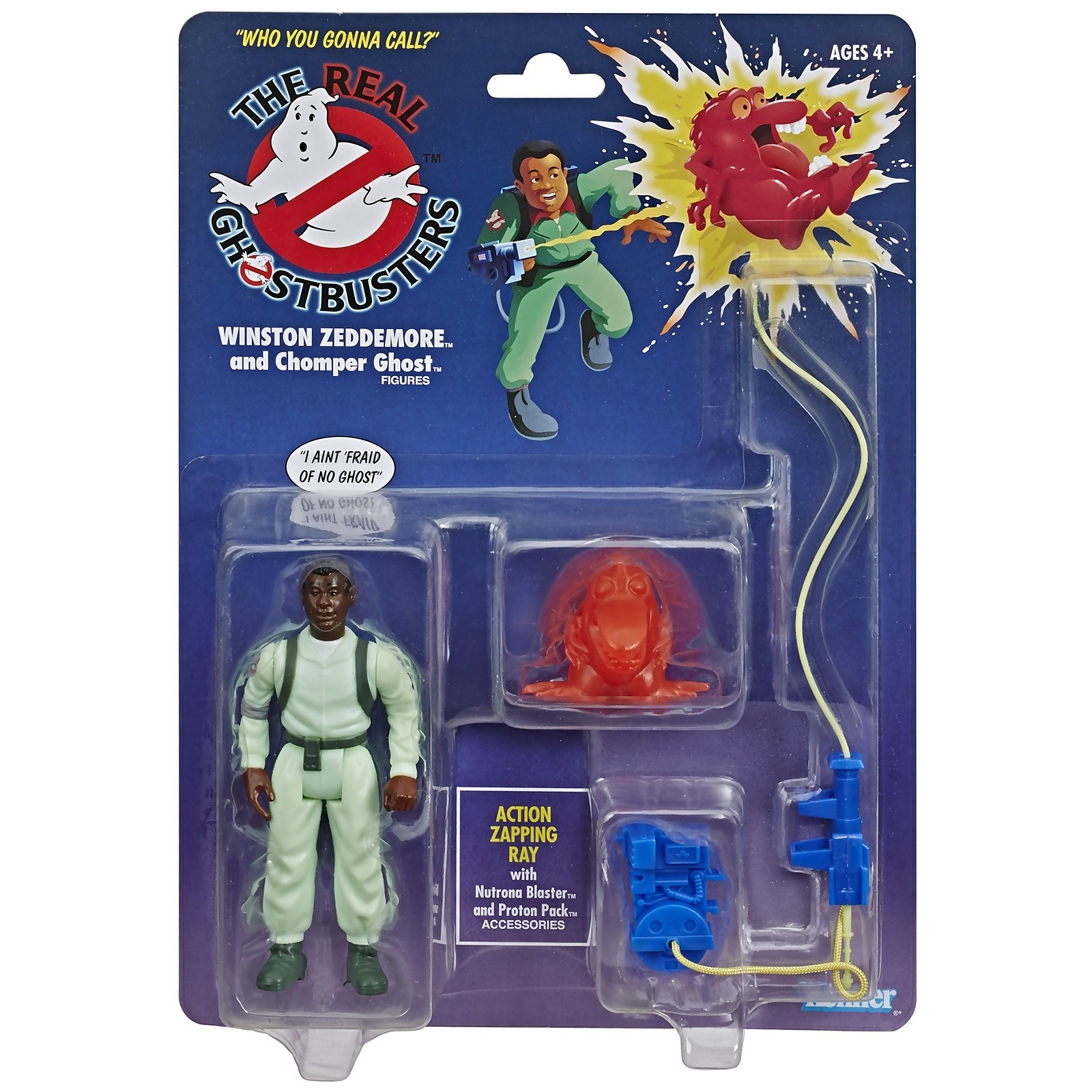 Image of Hasbro Ghostbusters Kenner Classics Winston Zeddemore and Chomper Ghost Retro Action Figure