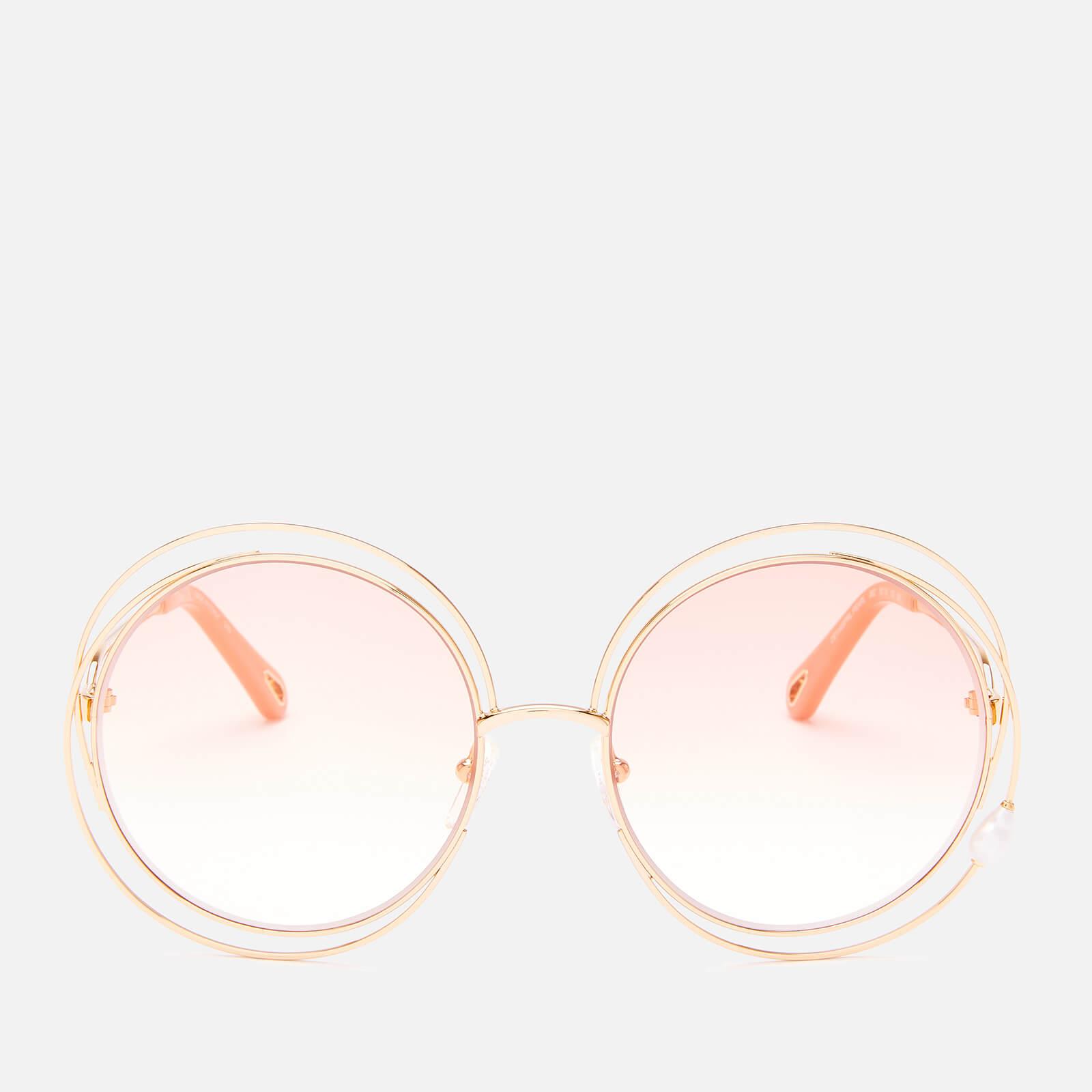 Chloé Women's Carlina Pearl Round Frame Sunglasses - Gold/Peach