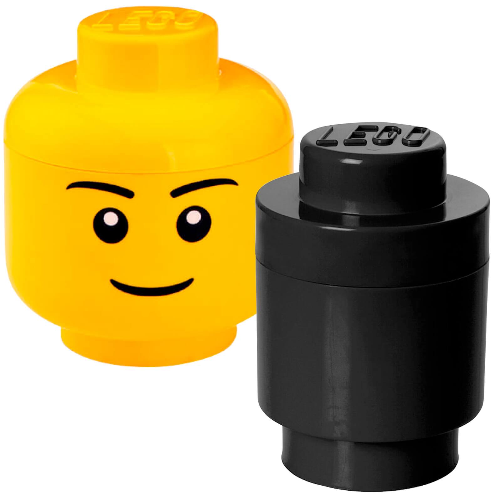 Image of LEGO Storage Head & Round Brick Bundle (Includes 1 Small Boy Head and 1 Round Brick Black)