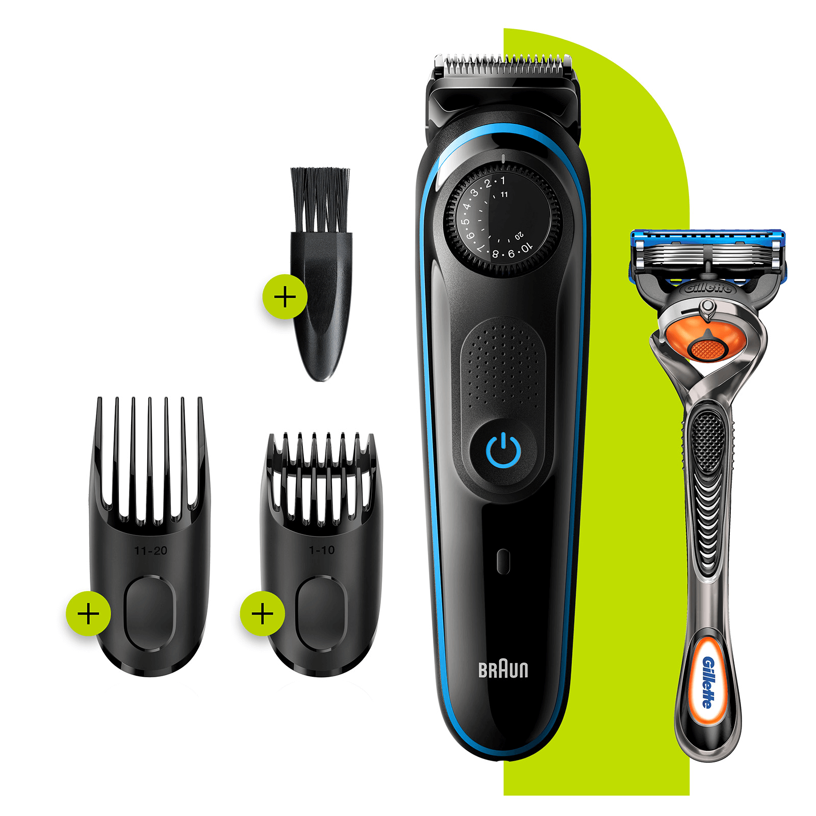 Braun Beard Trimmer 3 BT3240- Blue - Beard & Head Combs, plus Gillette Razor