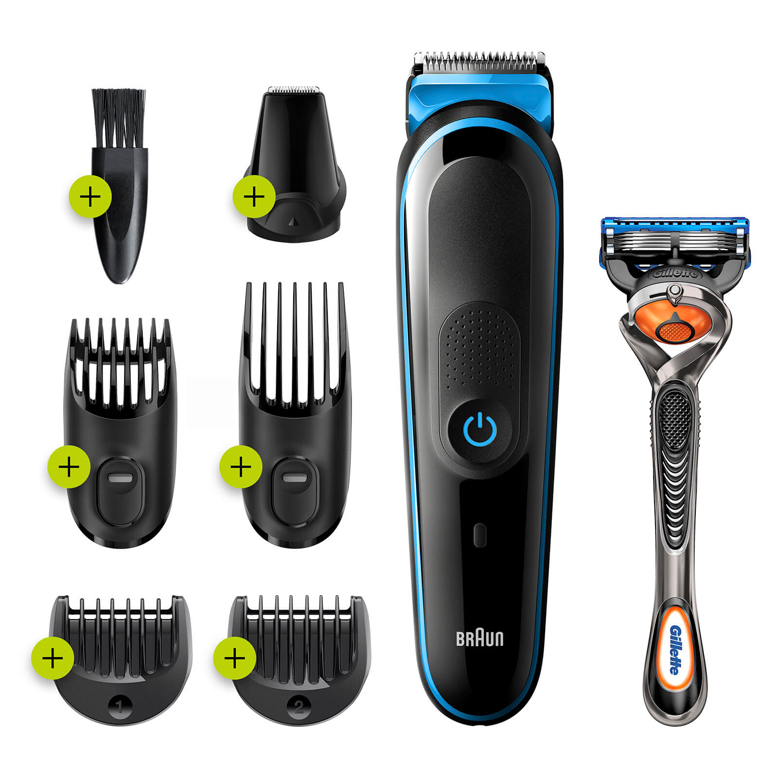 All-in-one Trimmer with 5 attachments and Gillette Razor