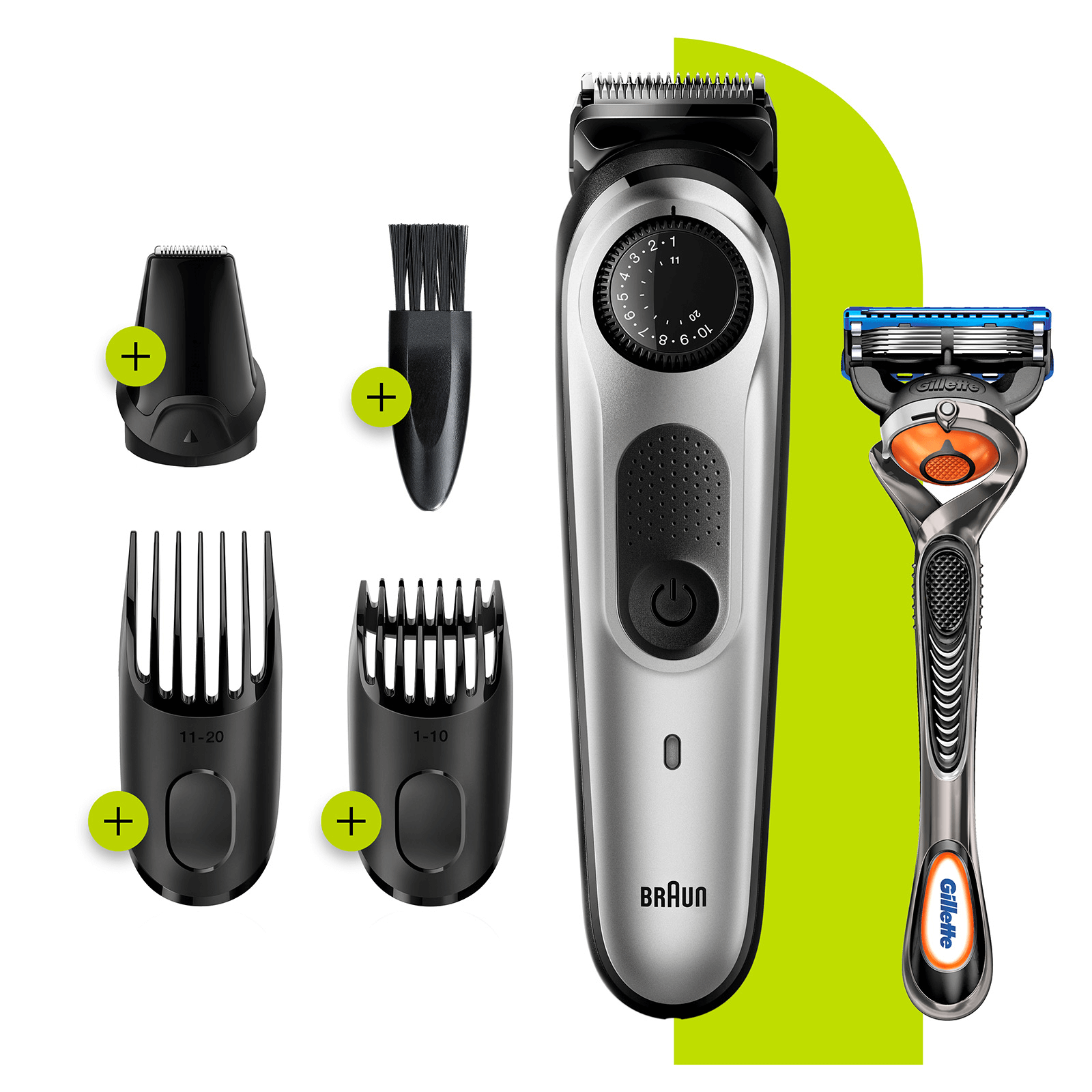Beard Trimmer with 3 attachments and Gillette Razor