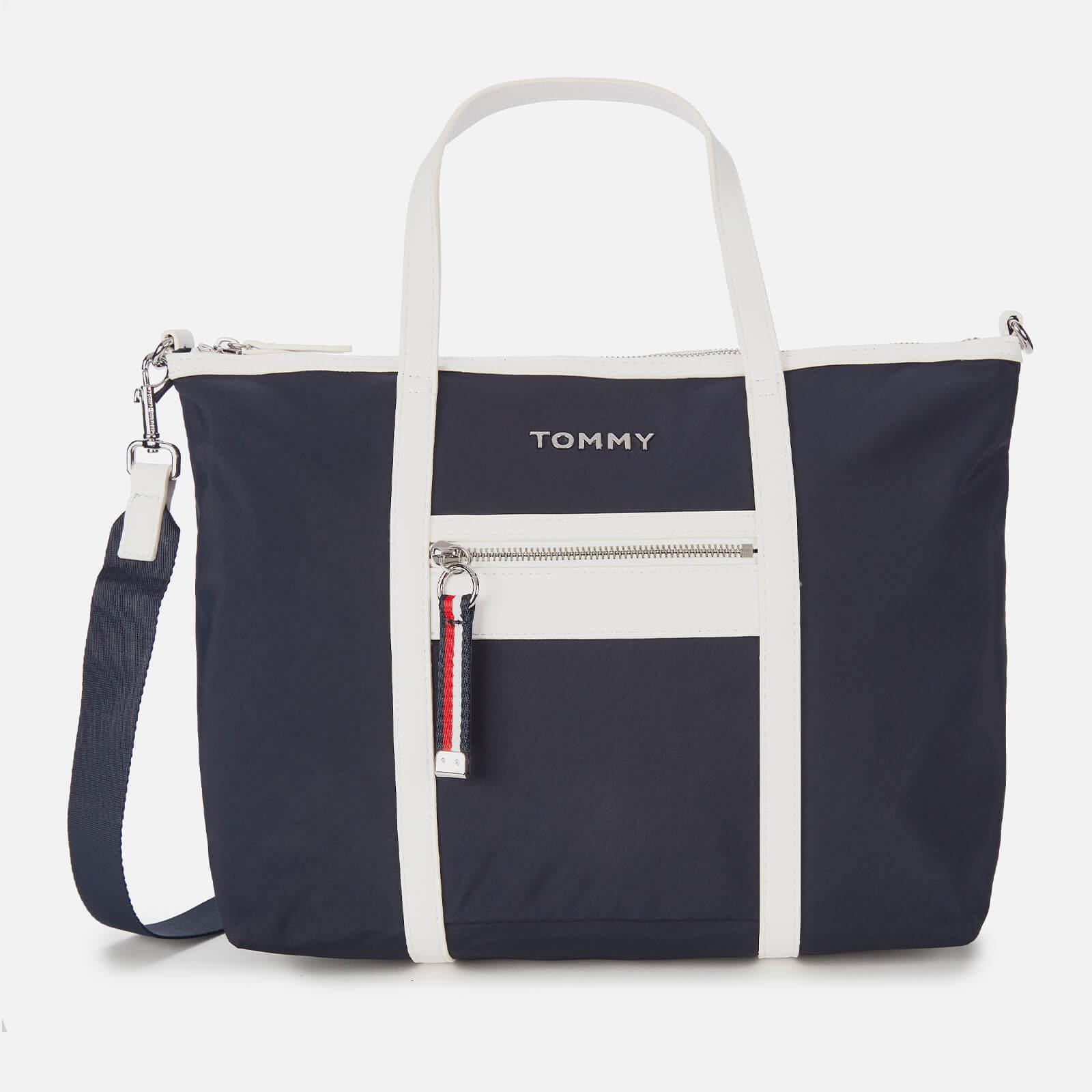 tommy hilfiger women's nylon satchel - sky captain/white