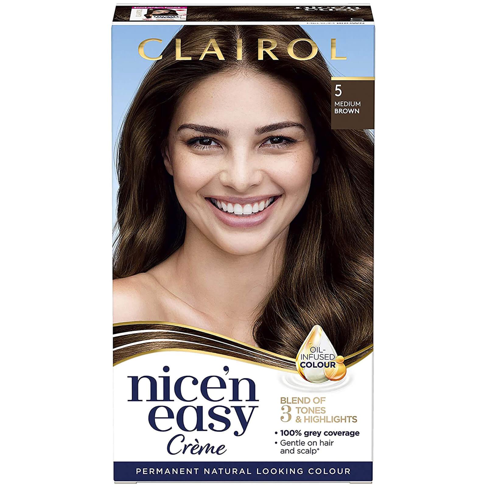 Clairol Nice' n Easy Crème Natural Looking Oil Infused Permanent Hair Dye 177ml (Various Shades) - 5 Medium Brown