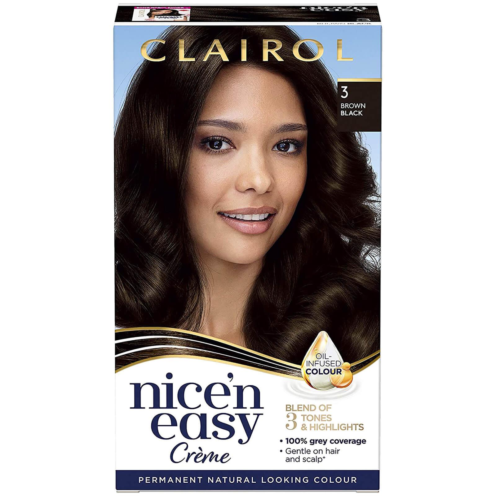 Clairol Nice' n Easy Crème Natural Looking Oil Infused Permanent Hair Dye 177ml (Various Shades) - 3 Brown Black