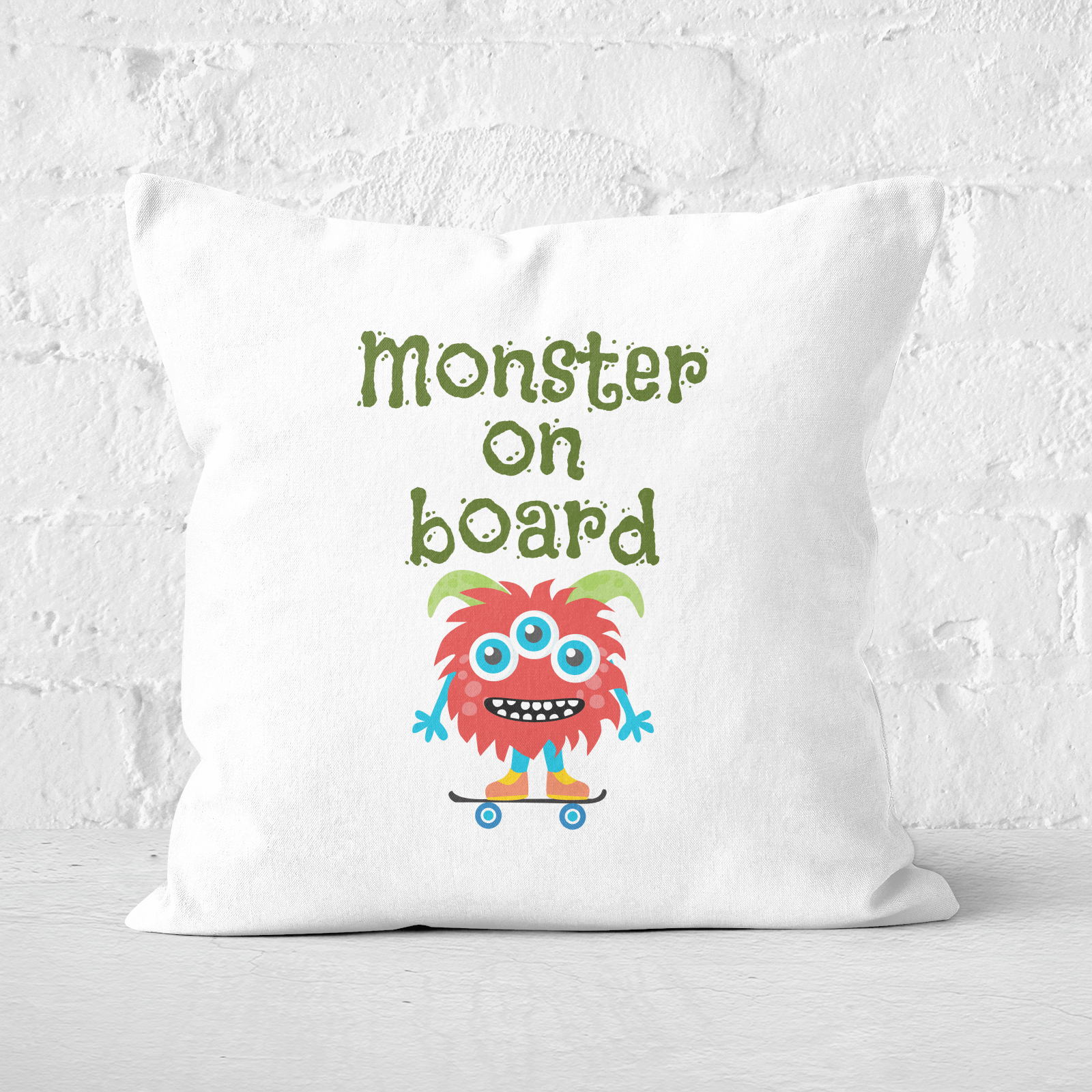 Monster On Board Square Cushion   60x60cm   Soft Touch