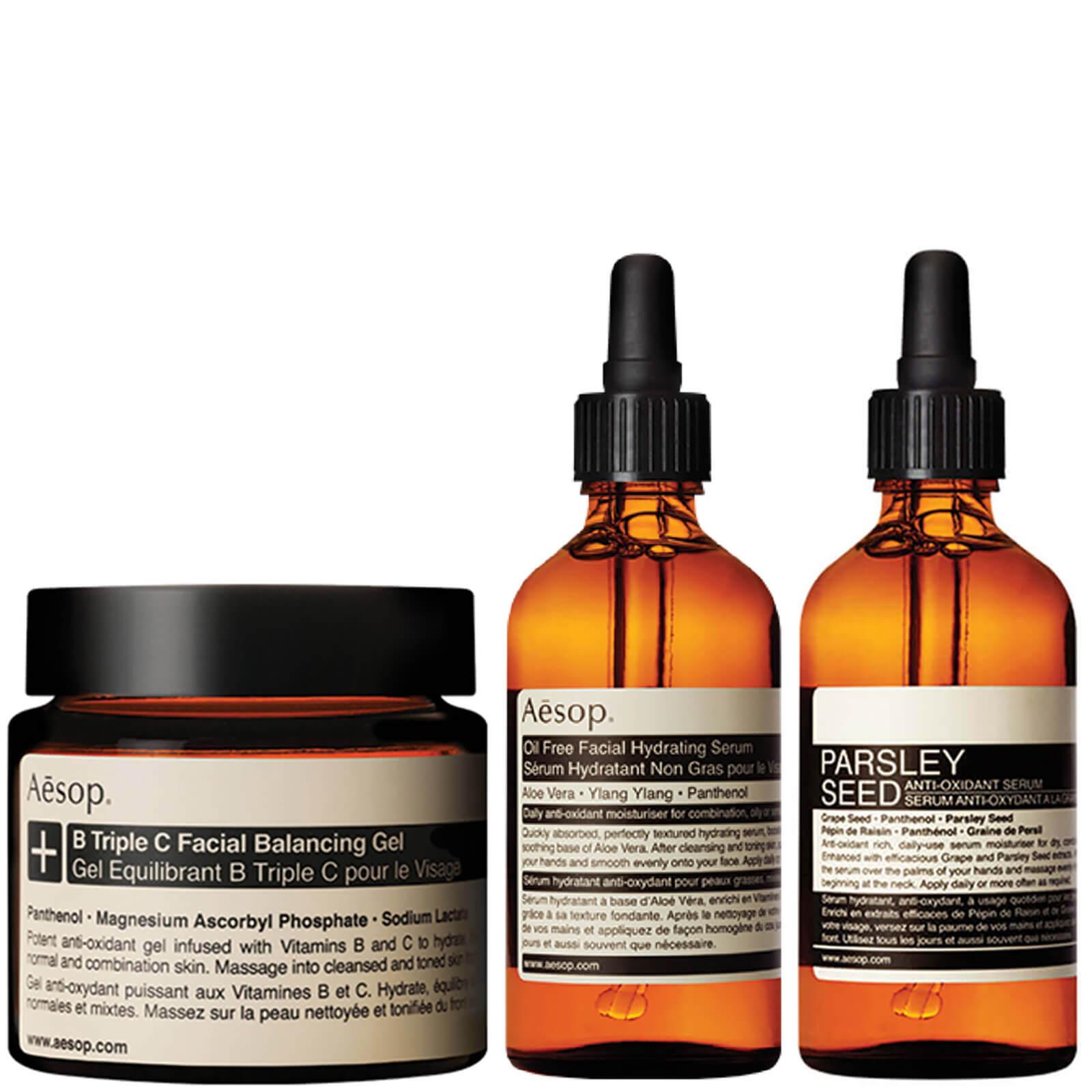 Aesop Lightweight Serum, Parsley Seed Serum and Facial Balancing Gel Bundle