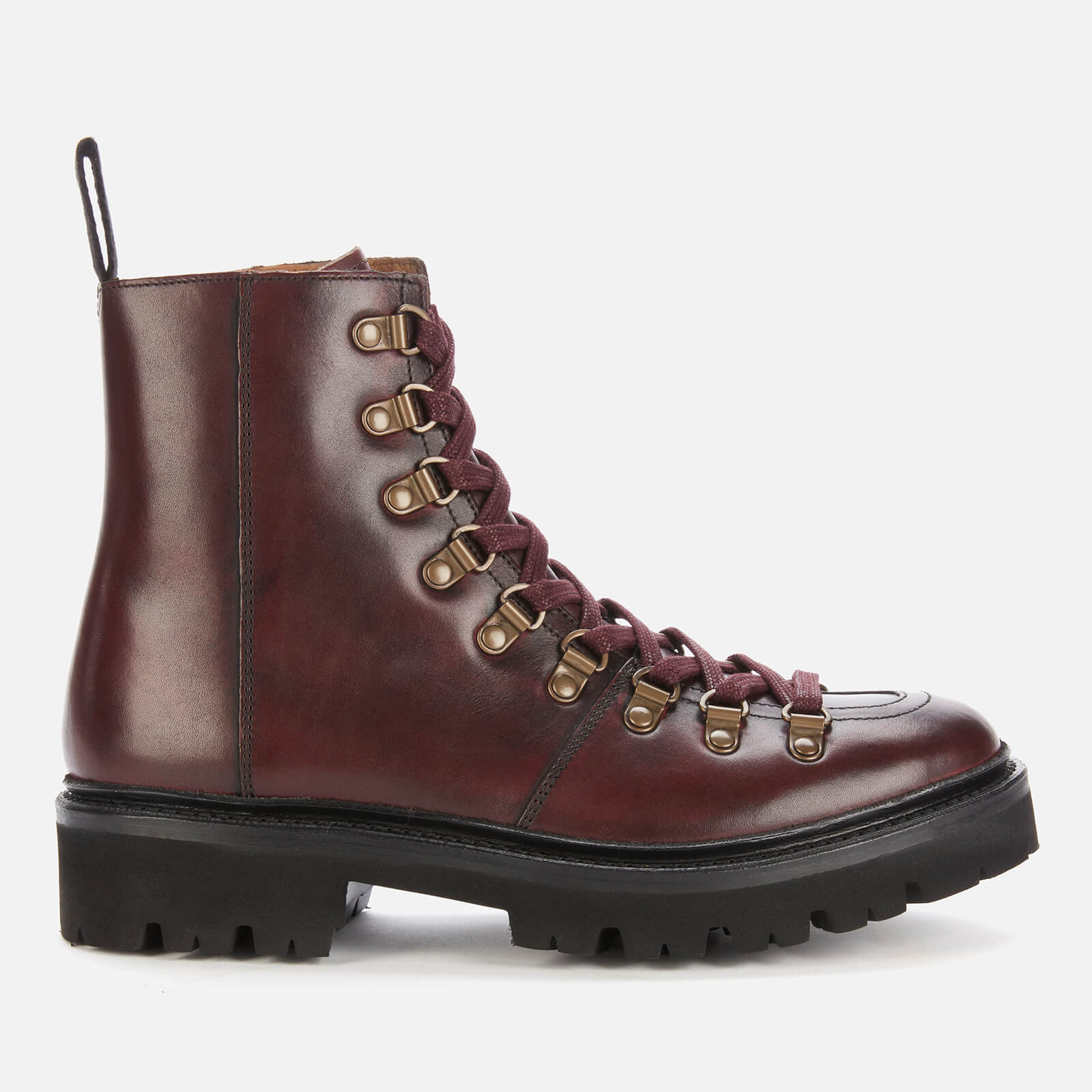 Grenson Women's Exclusive To Coggles Nanette Leather Hiking Style Boots - Burgundy - Uk  3