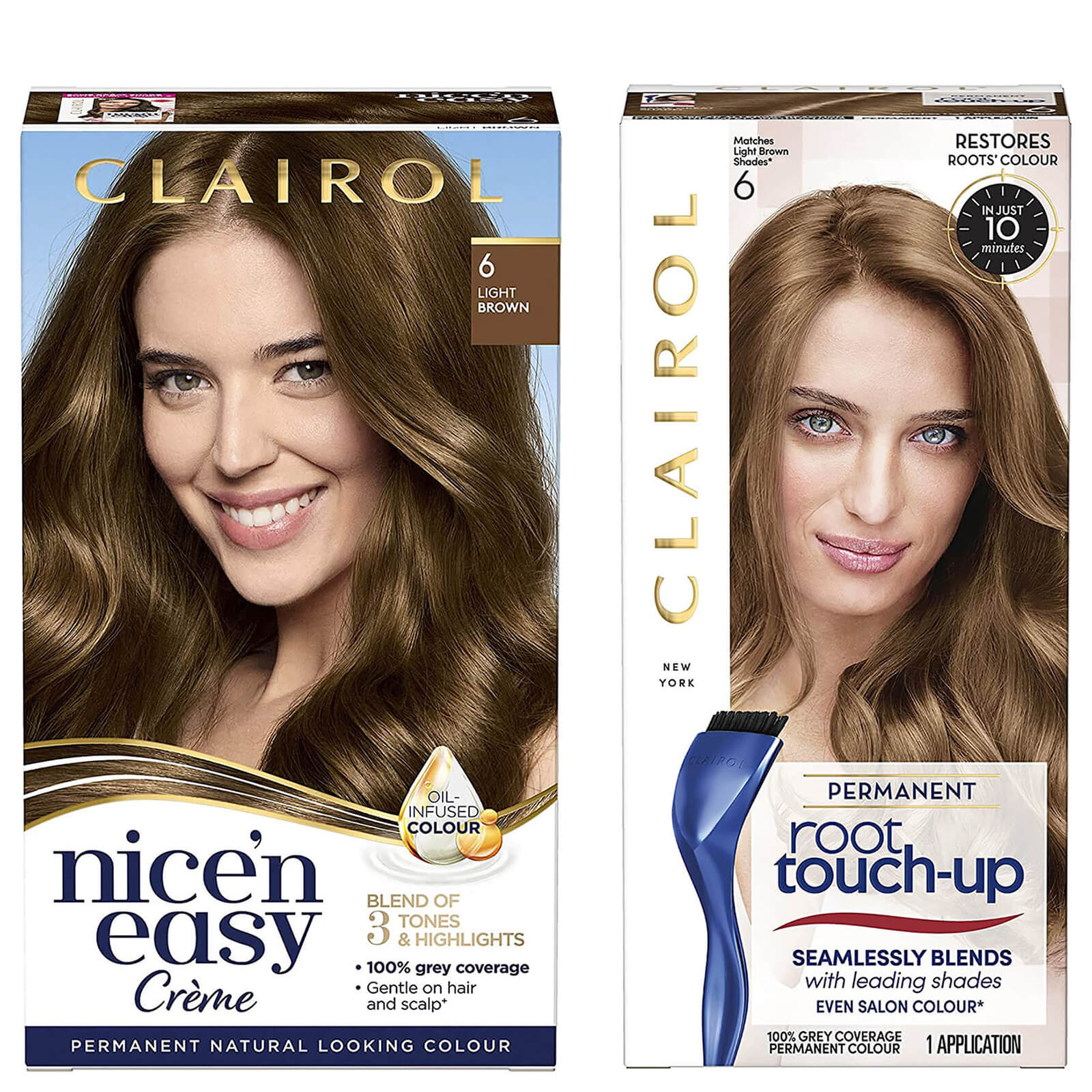 Clairol Nice' n Easy Permanent Hair Dye and Root Touch up Duo (Various Shades) - 6 Light Brown