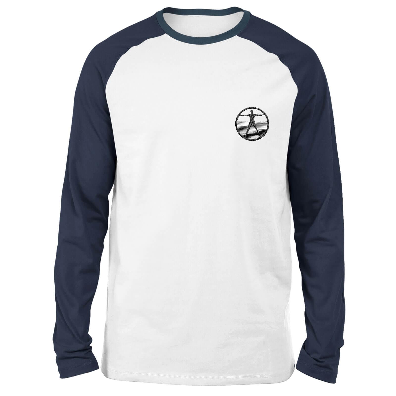 Westworld Logo Embroidered Unisex Long Sleeved Raglan T-Shirt - White/Navy - XL