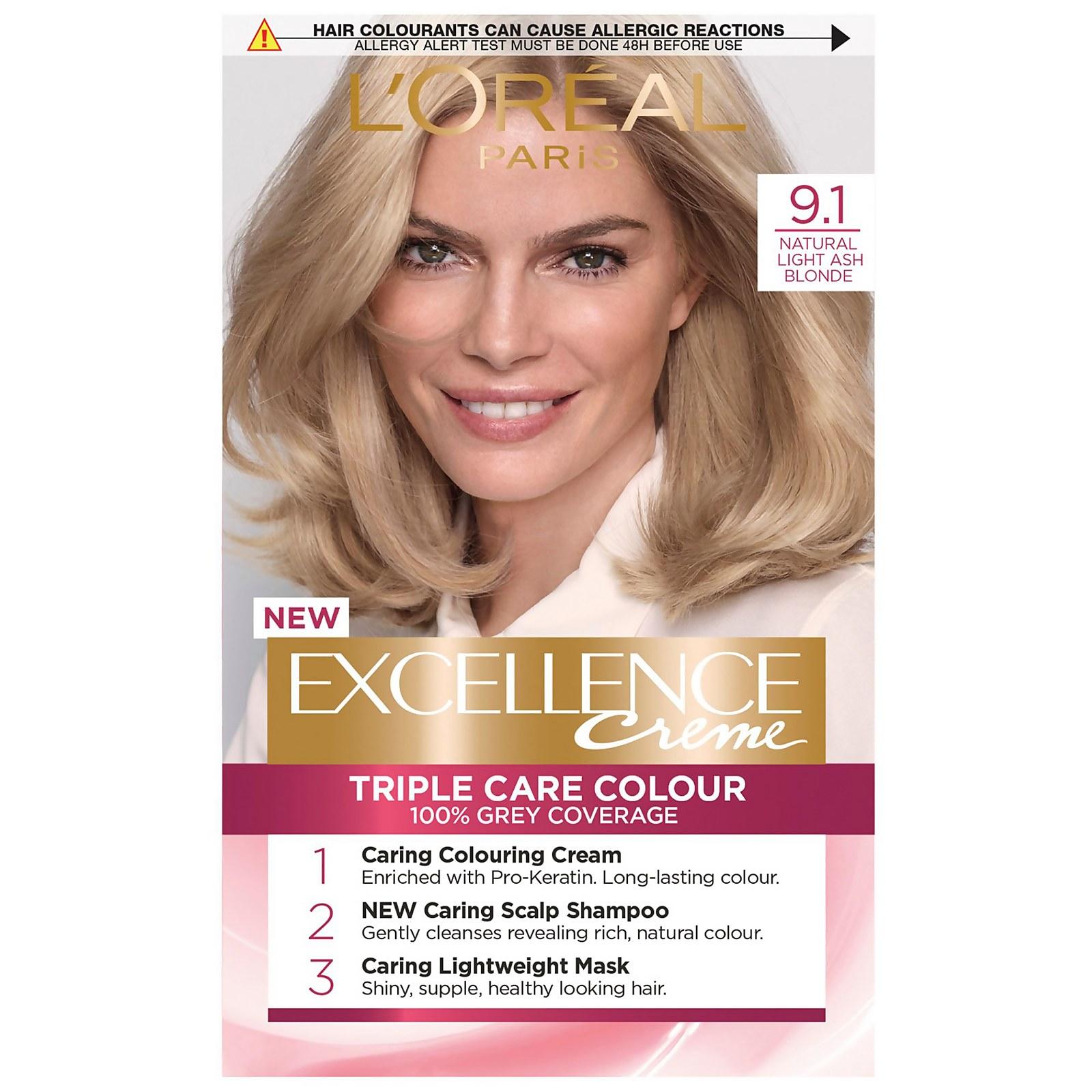 L'Oréal Paris Excellence Crème Permanent Hair Dye (Various Shades) - 9.1 Natural Light Ash Blonde