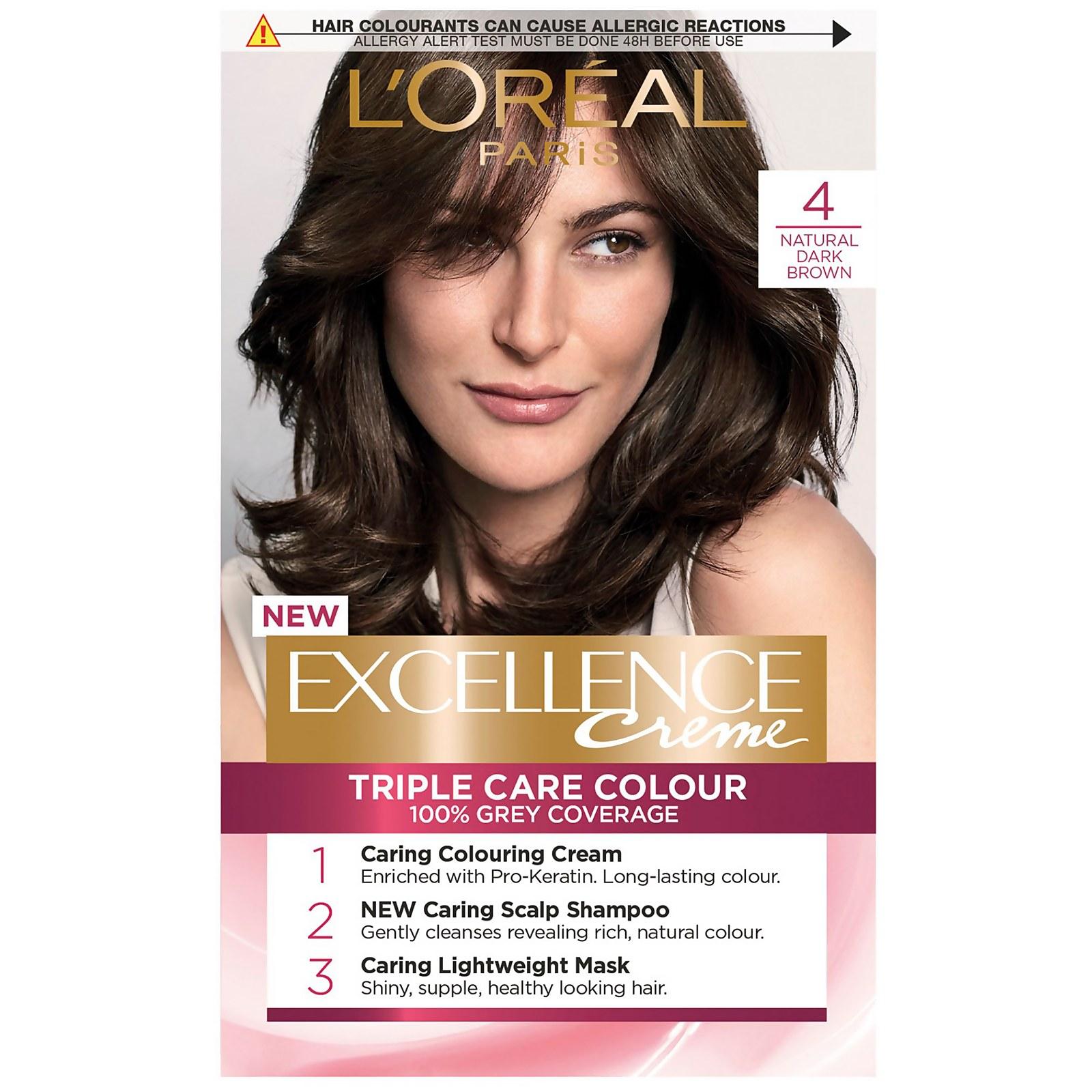 L'Oréal Paris Excellence Crème Permanent Hair Dye (Various Shades) - 4 Natural Dark Brown