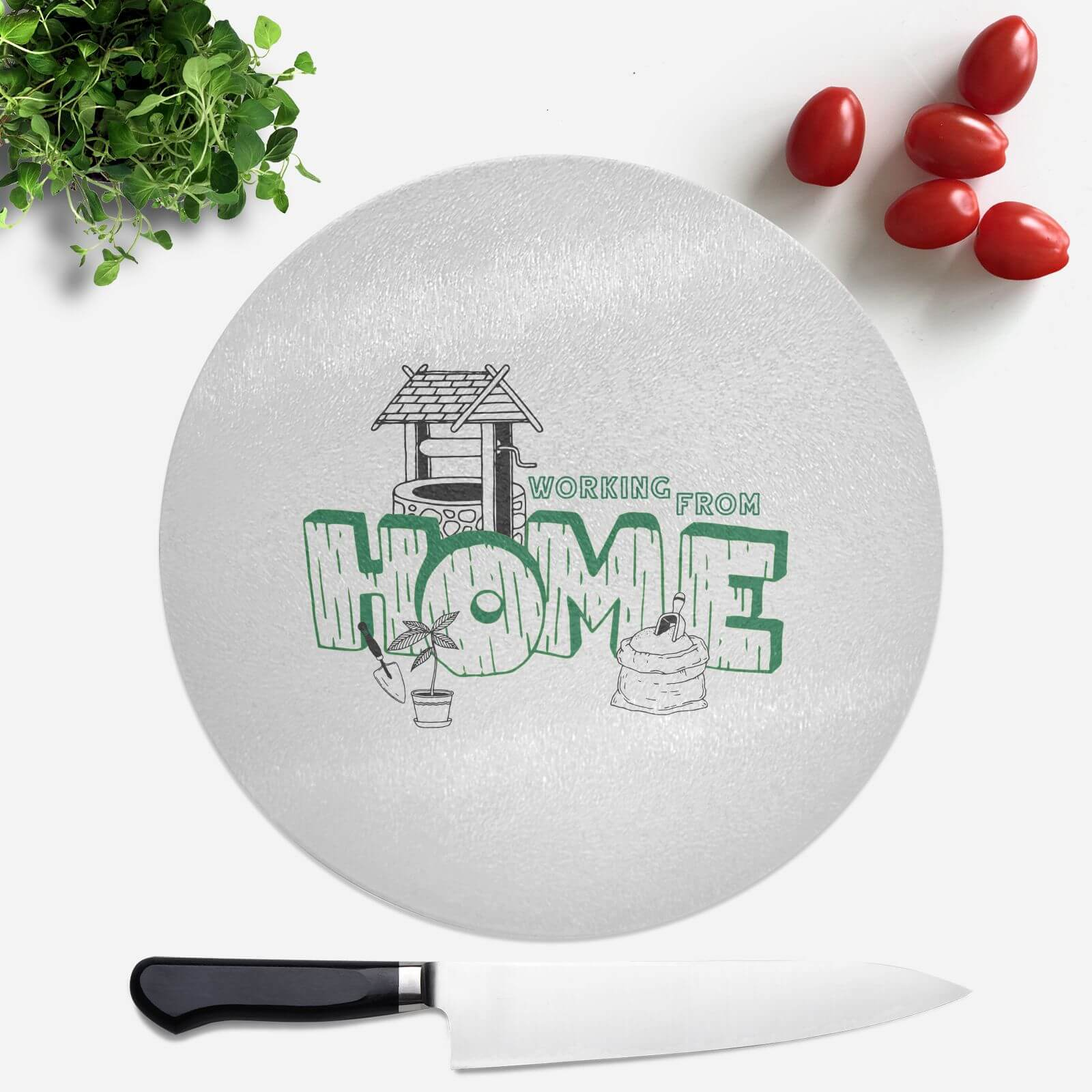 Gardening Working From Home Round Chopping Board