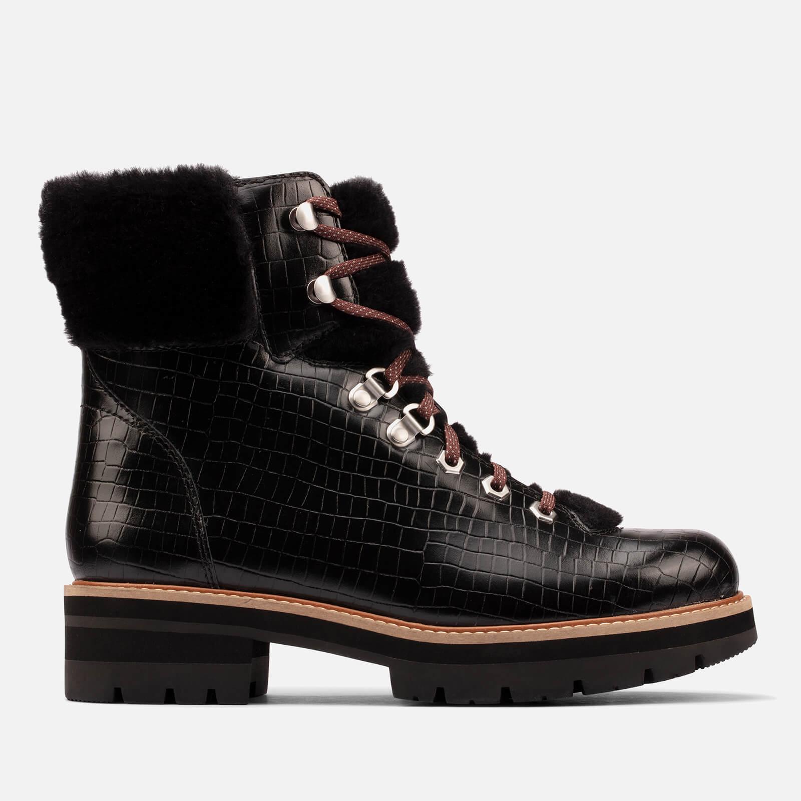 Clarks Women's Orianna Croc Print Leather Hiking Style Boots - Black - Uk 3