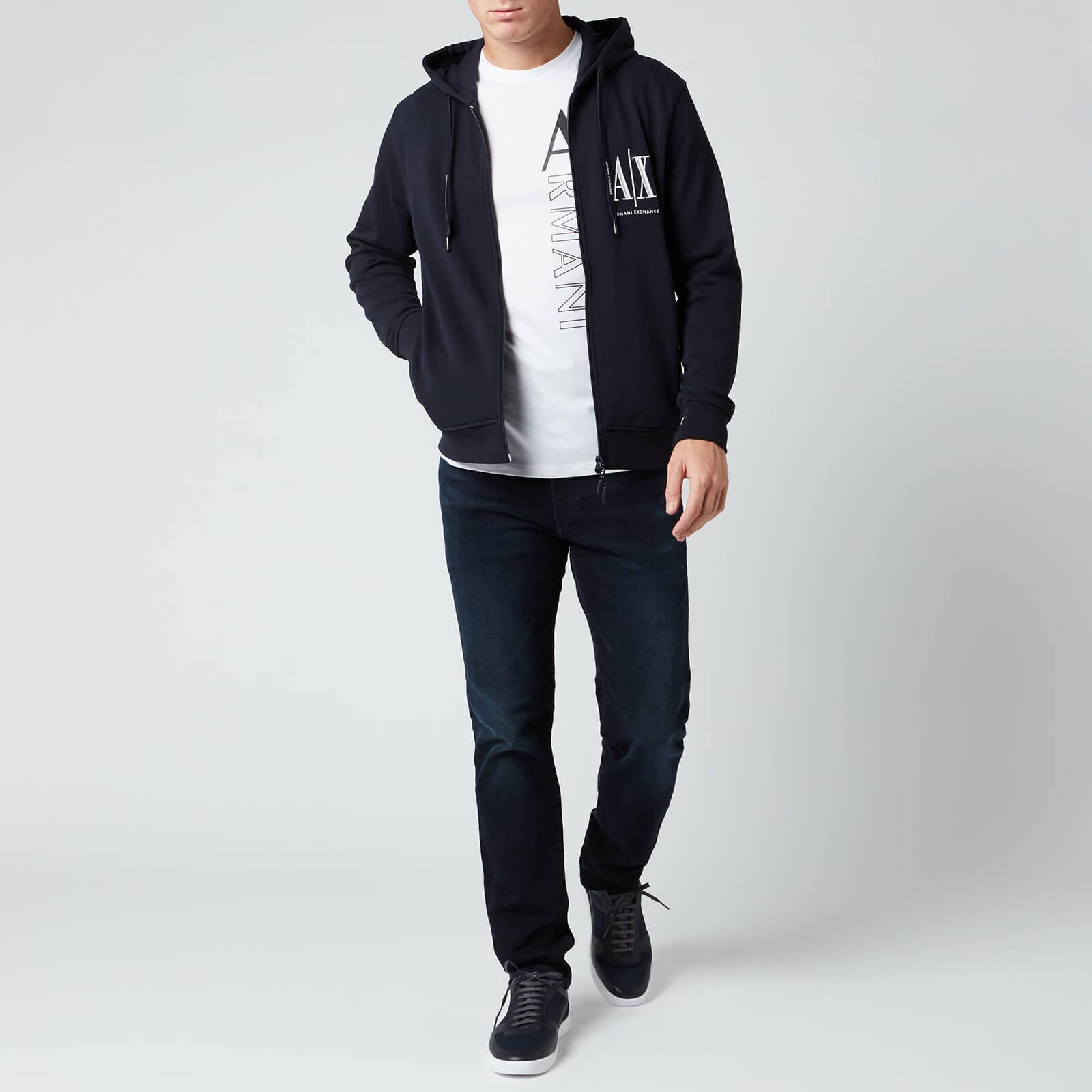 Armani Exchange Men's Zipped Ax Hoodie - Navy - Xxl